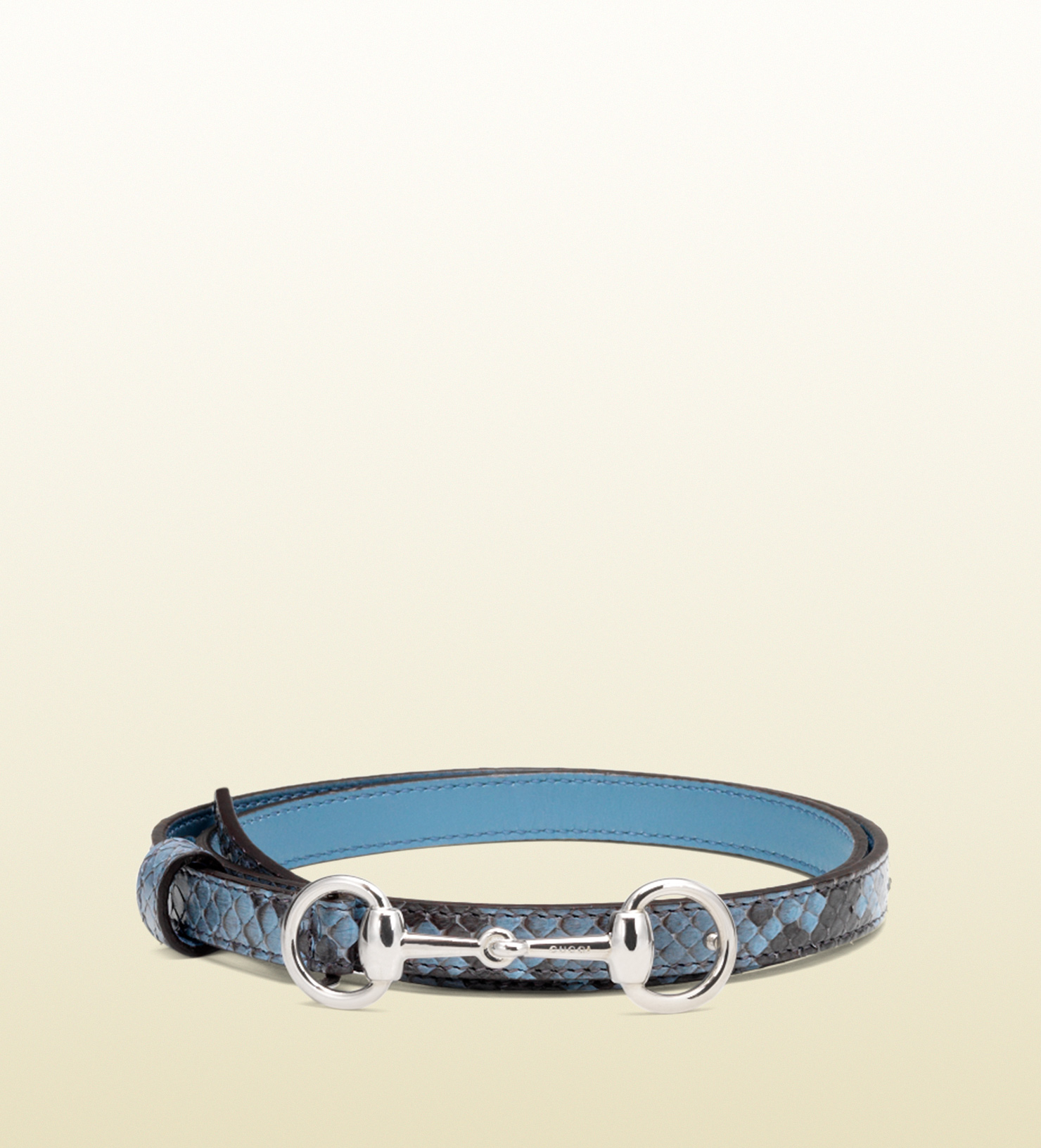 e79805538 Lyst - Gucci Python Skinny Belt With Horsebit Buckle in Blue