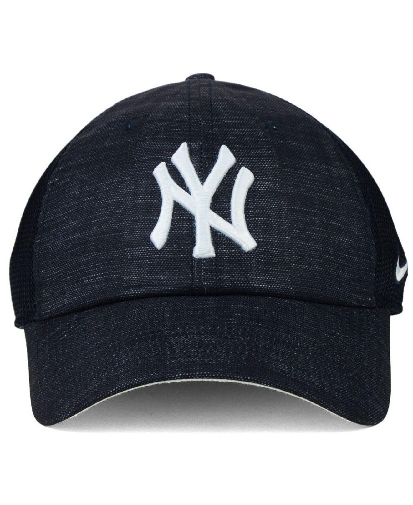 nike new york yankees dri fit adjustable cap in blue for. Black Bedroom Furniture Sets. Home Design Ideas