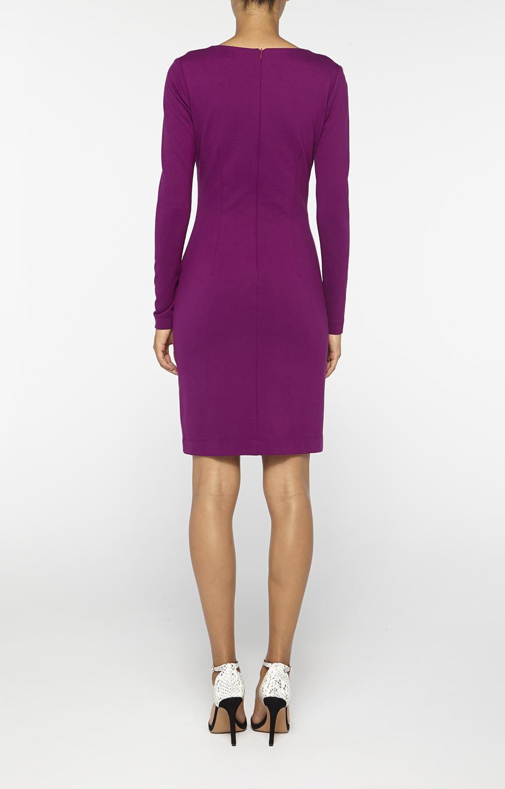 Nicole Miller V Neck Zipper Dress In Purple Byzantium Lyst