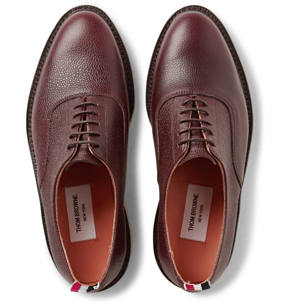 ced3f9e88382a6 Thom Browne Pebble-Grain Leather Oxford Shoes in Brown for Men - Lyst