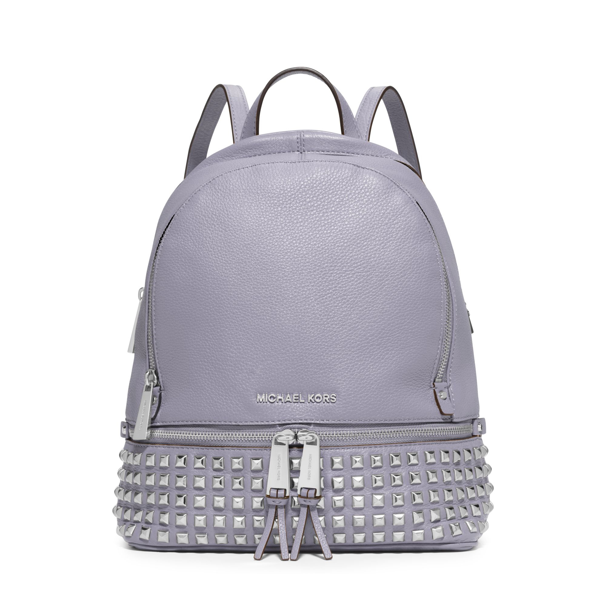 Michael kors Rhea Small Studded Leather Backpack in Gray | Lyst