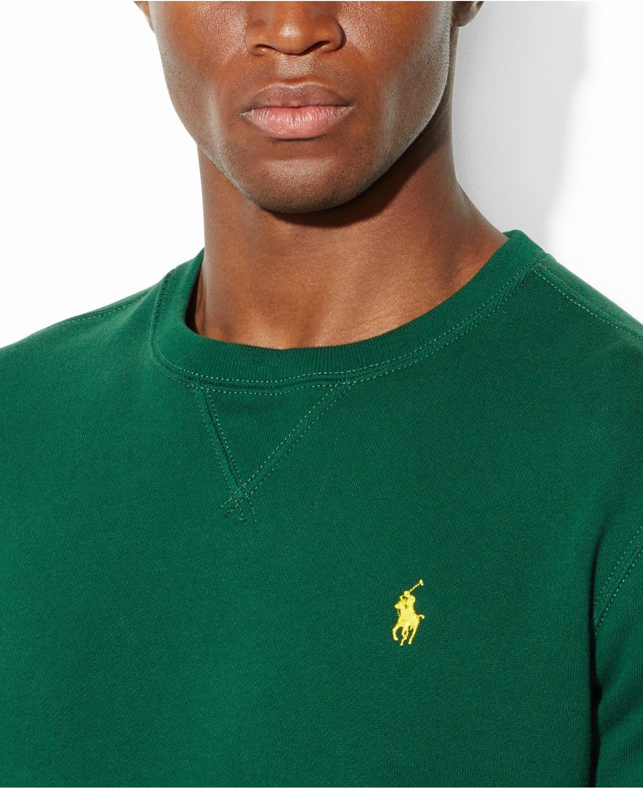 2f882986c336 Lyst - Polo Ralph Lauren Classic Fleece Crew-Neck Sweater in Green ...