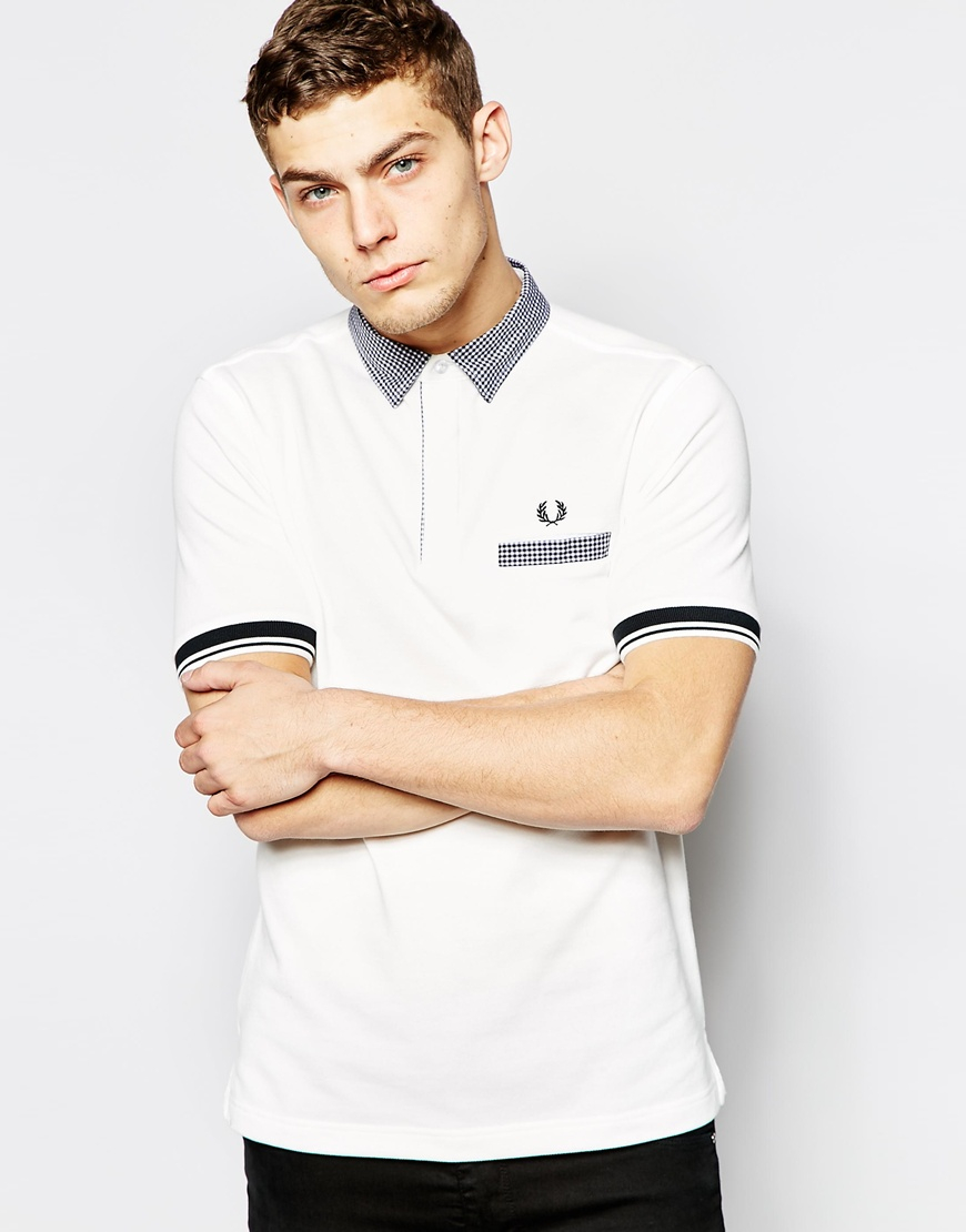 9b48b9c0568 Lyst - Fred Perry Polo Shirt With Gingham Check Collar Slim Fit in ...