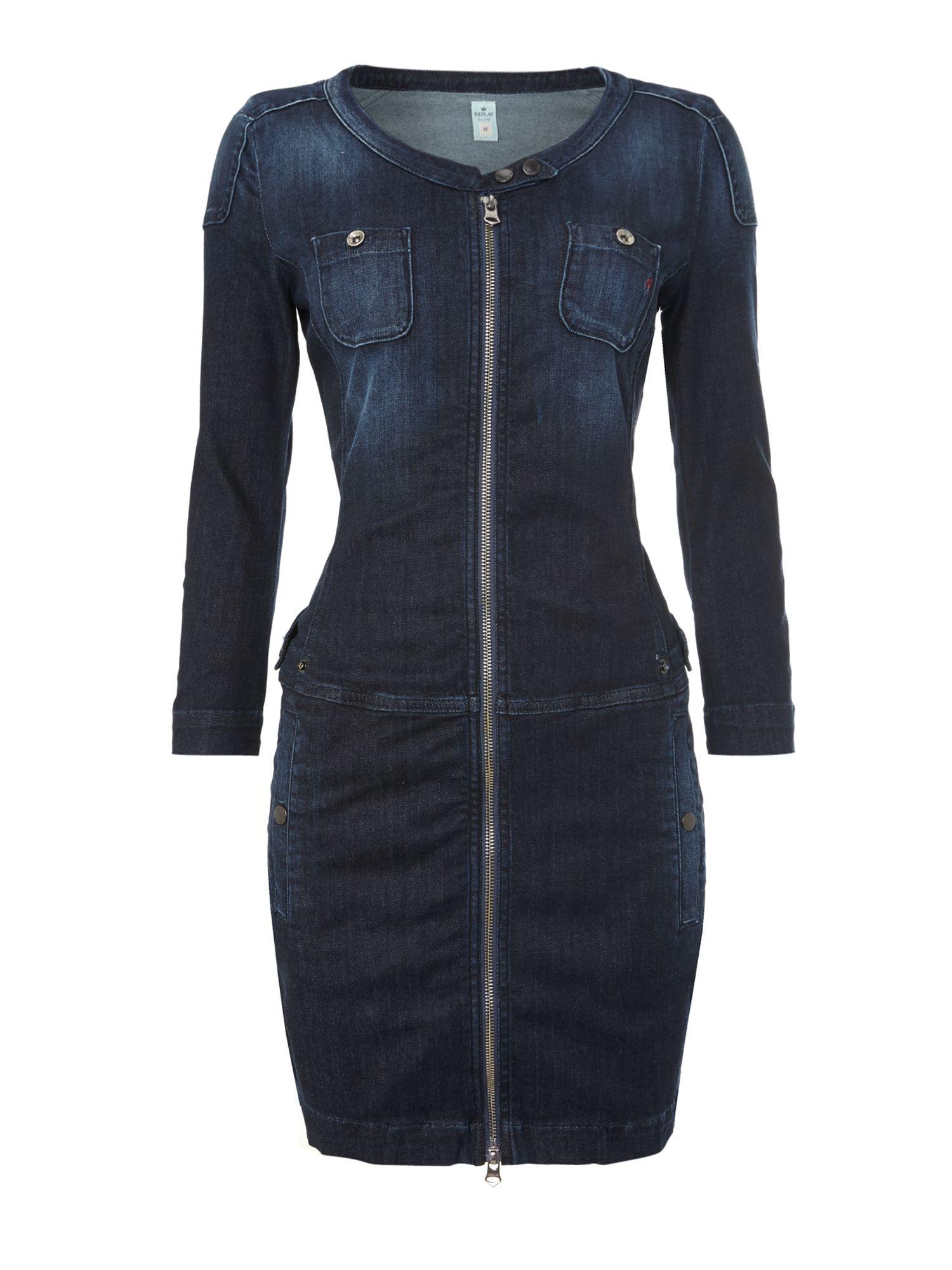 replay stretch denim dress in blue lyst