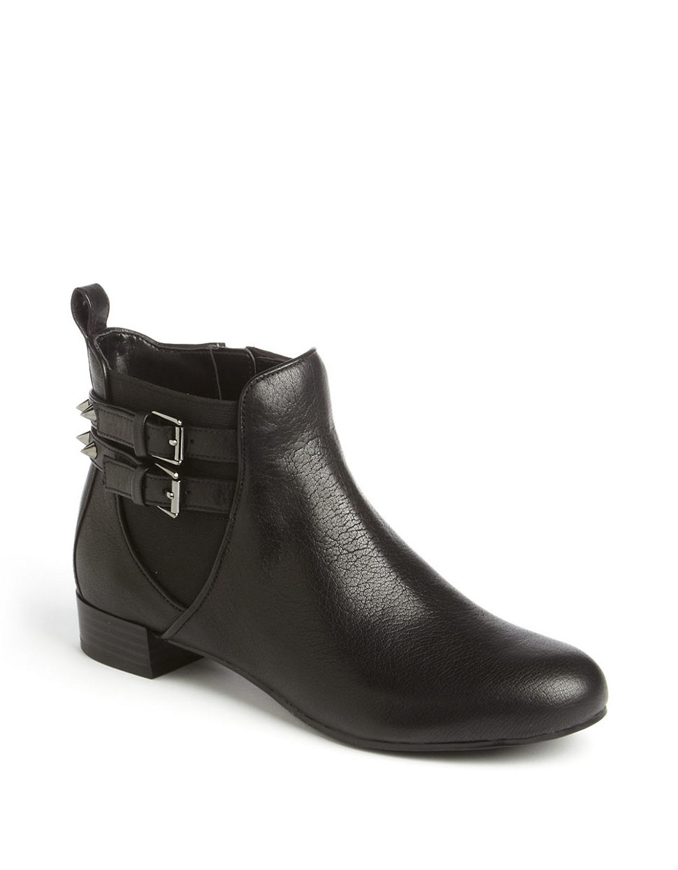 enzo angiolini maysa spiked leather ankle boots in black