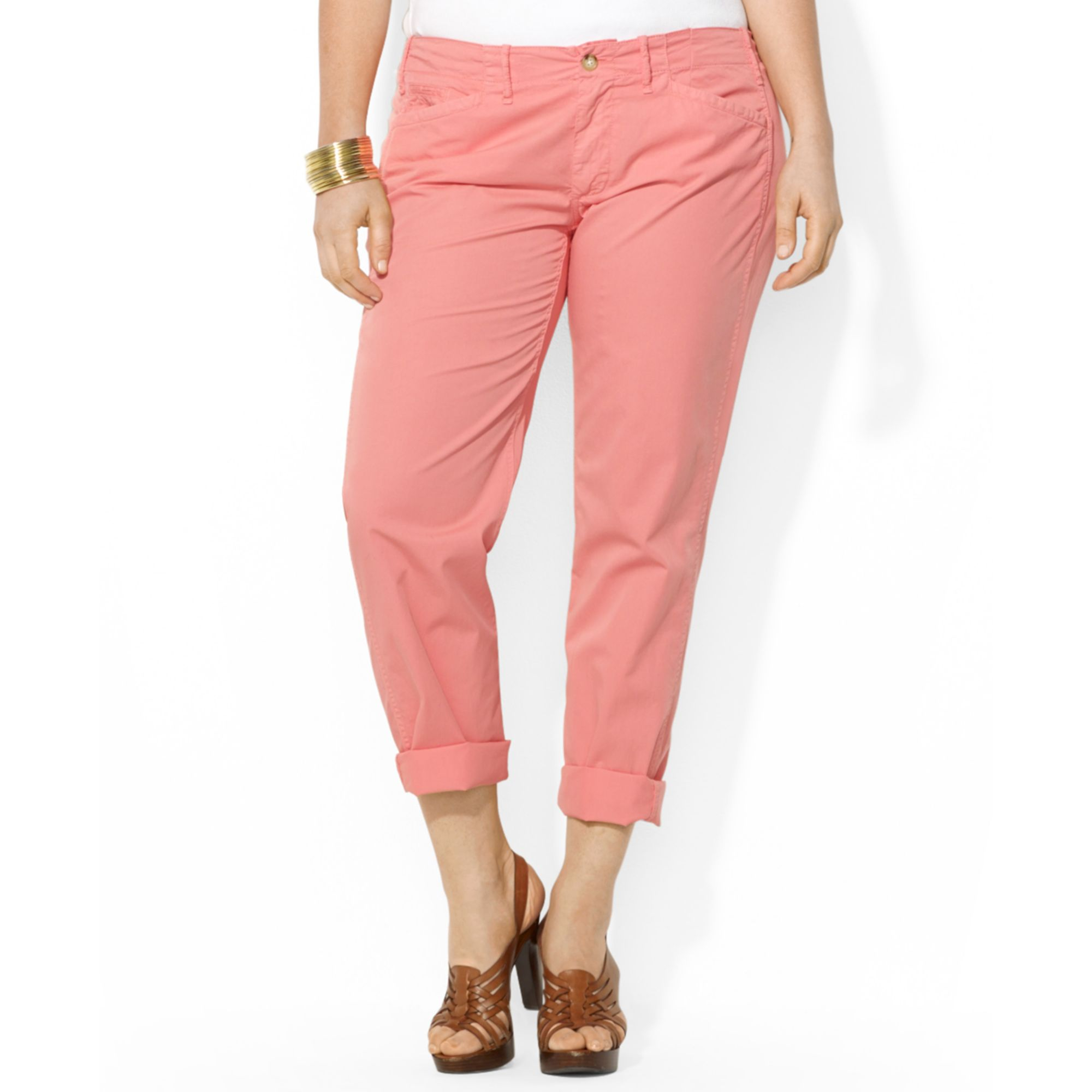 e40542314e3 Lyst - Lauren by Ralph Lauren Plus Size Rolledcuff Chino Pants in Pink