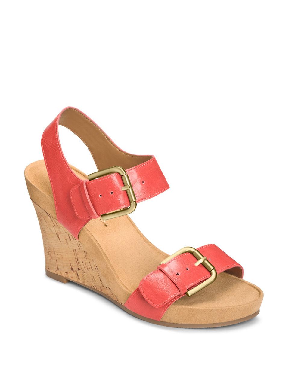 aerosoles mega plush wedge sandals in pink lyst