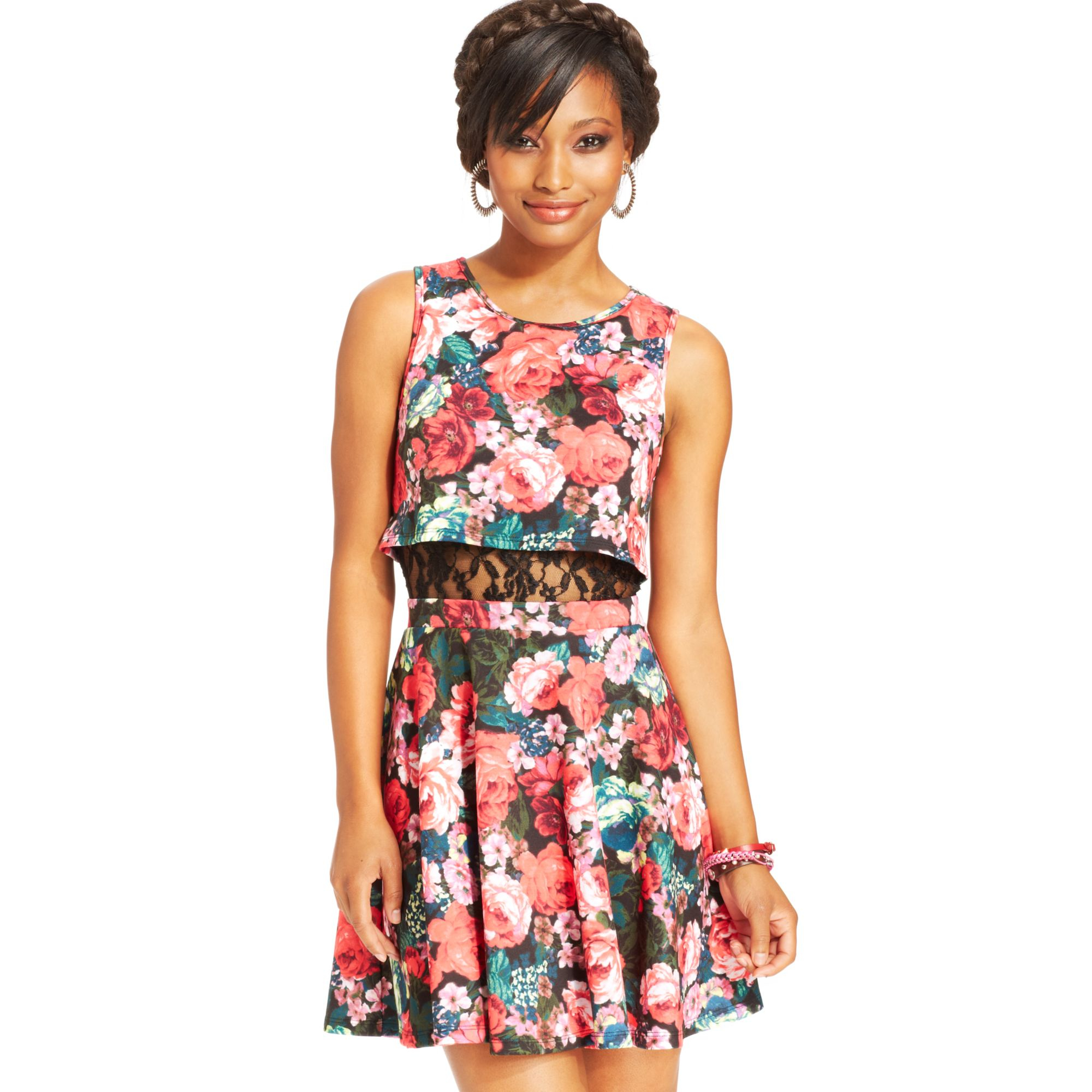Lyst Material Girl Juniors Floral Print Lace Panel Dress