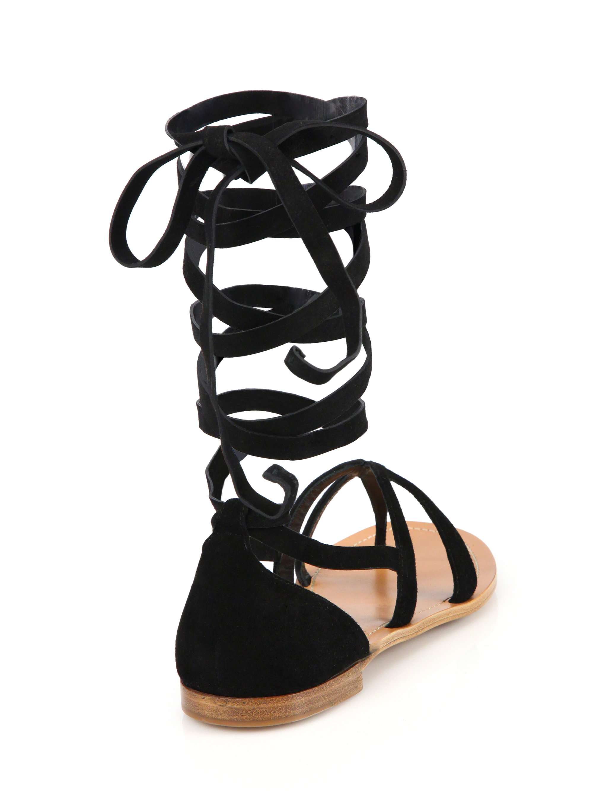 Lyst Prada Lace Up Leather Thong Sandals In Black