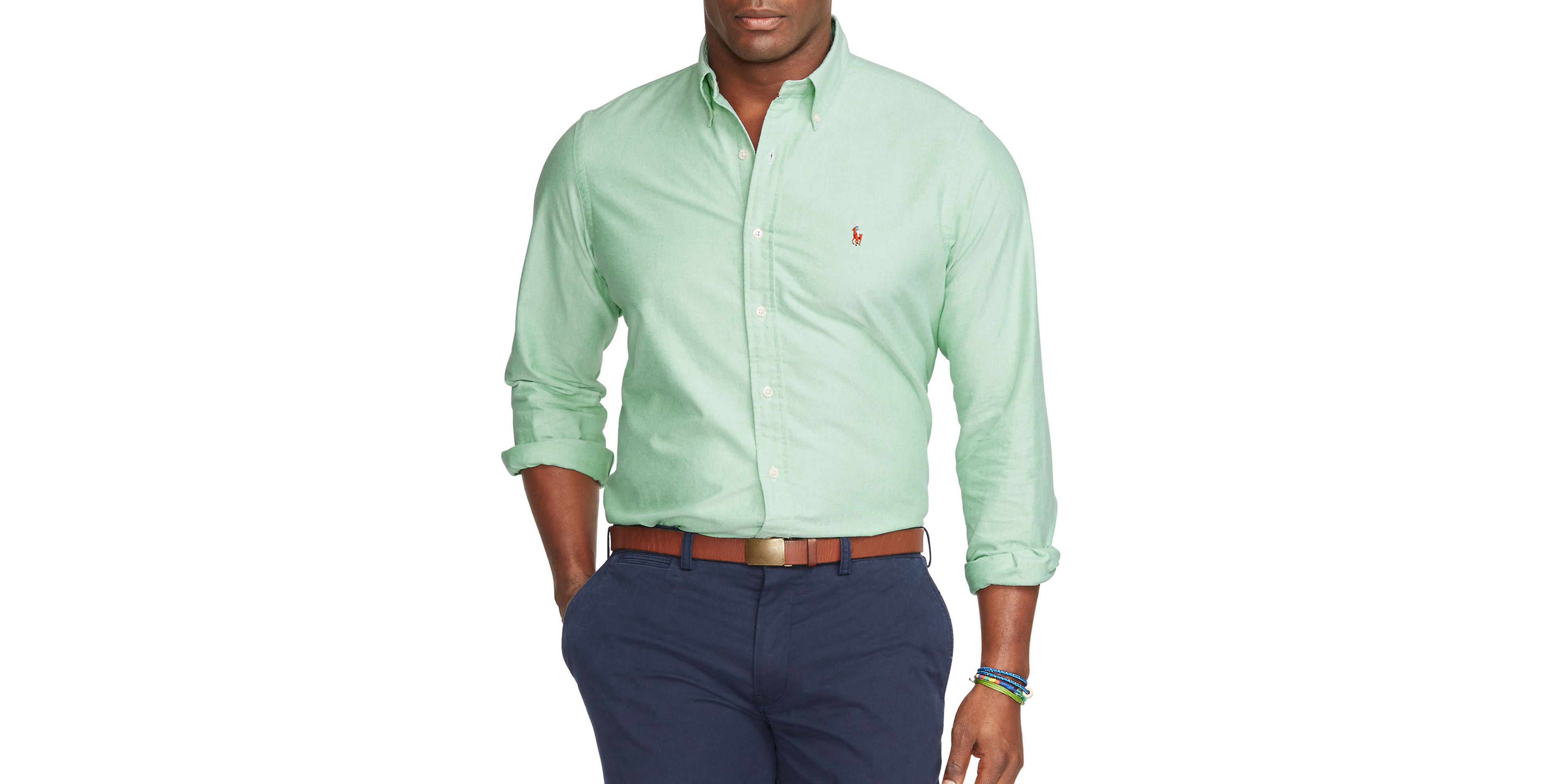 Polo ralph lauren big and tall oxford shirt in green for for Big and tall oxford shirts