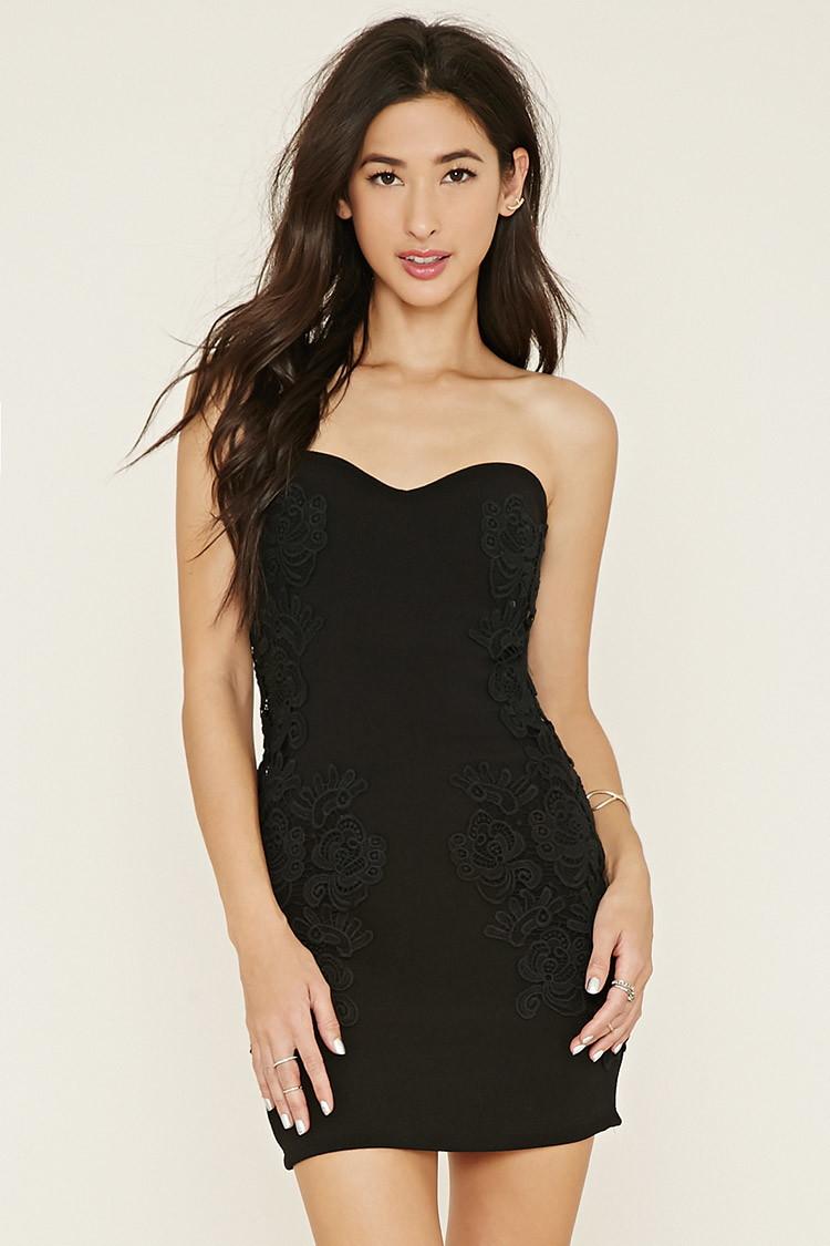 ea30c602c38 Lyst Forever 21 Strapless Crochet Bodycon Dress In Black