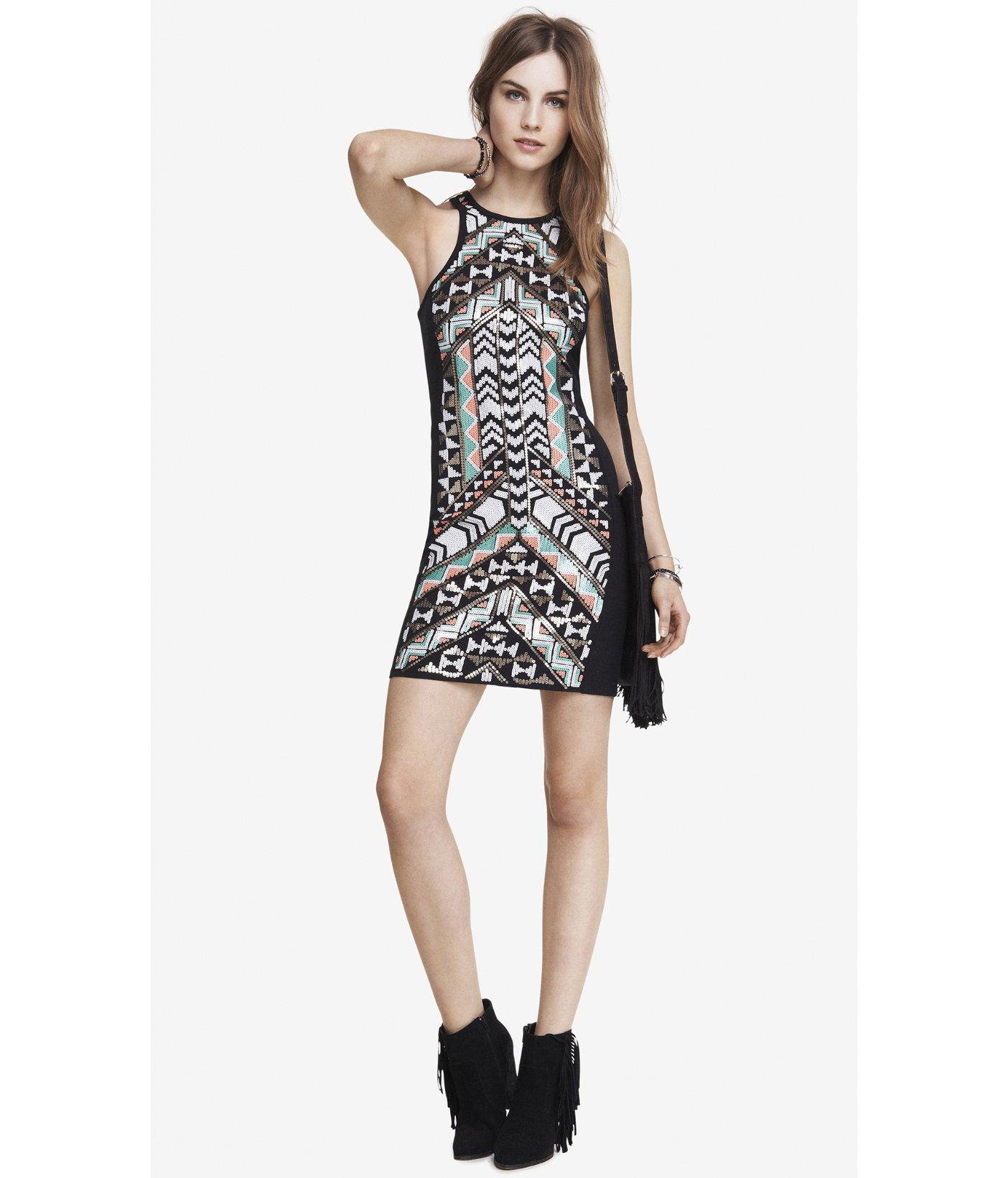 Express Aztec Sequin Embellished Sheath Dress In Black Lyst
