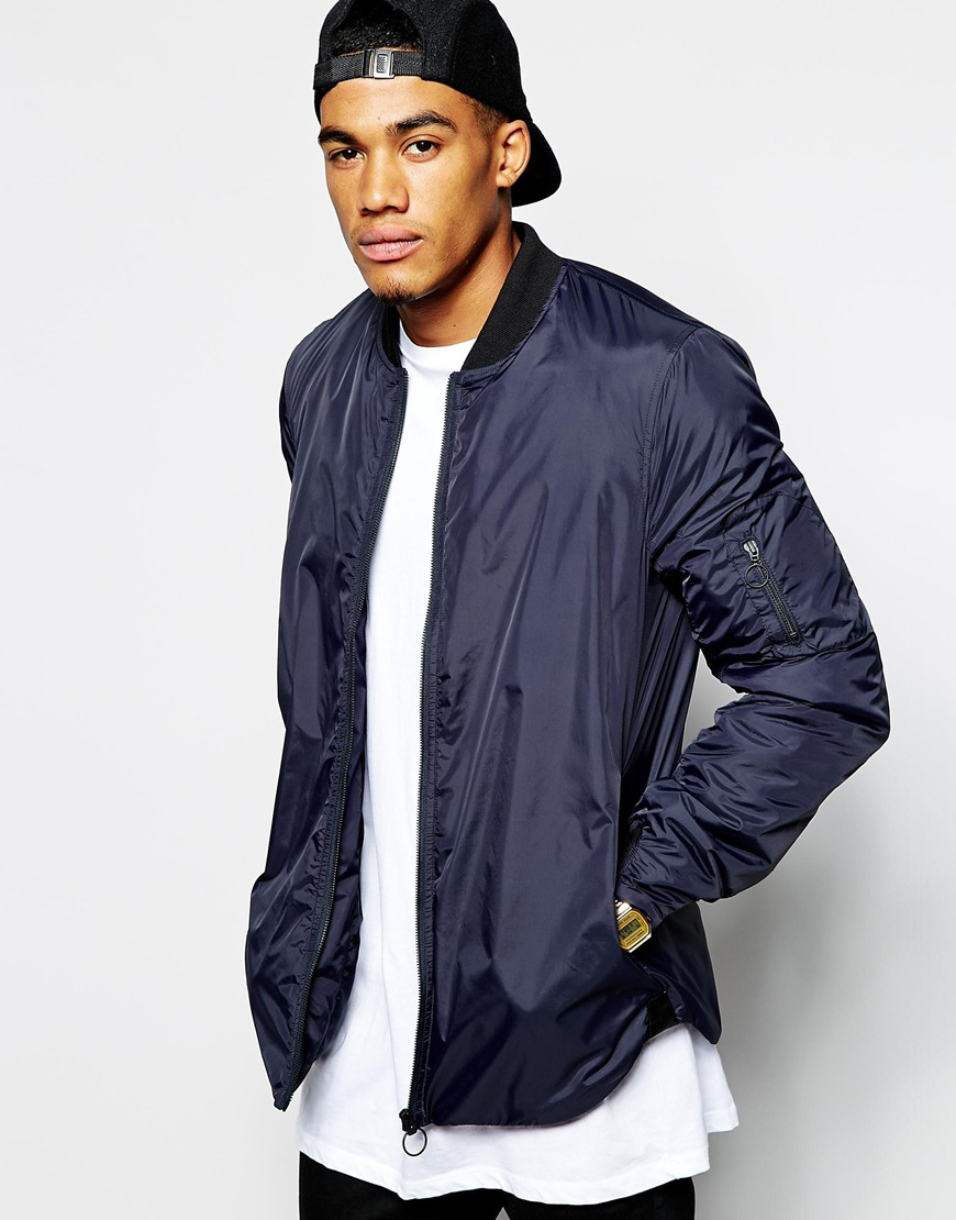 Asos Bomber Jacket With Curved Hem in Blue for Men | Lyst