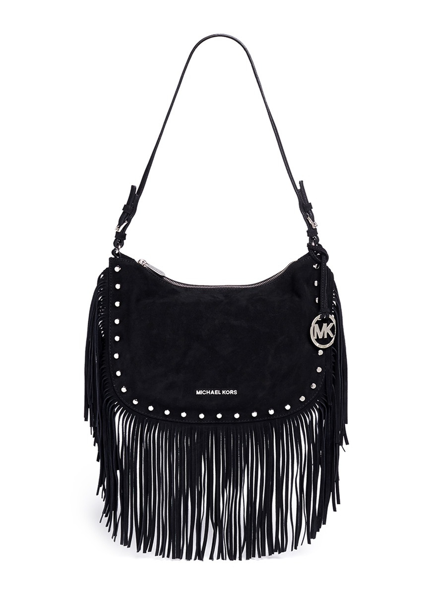 Michael kors 'billy' Medium Suede Fringe Shoulder Bag in ...