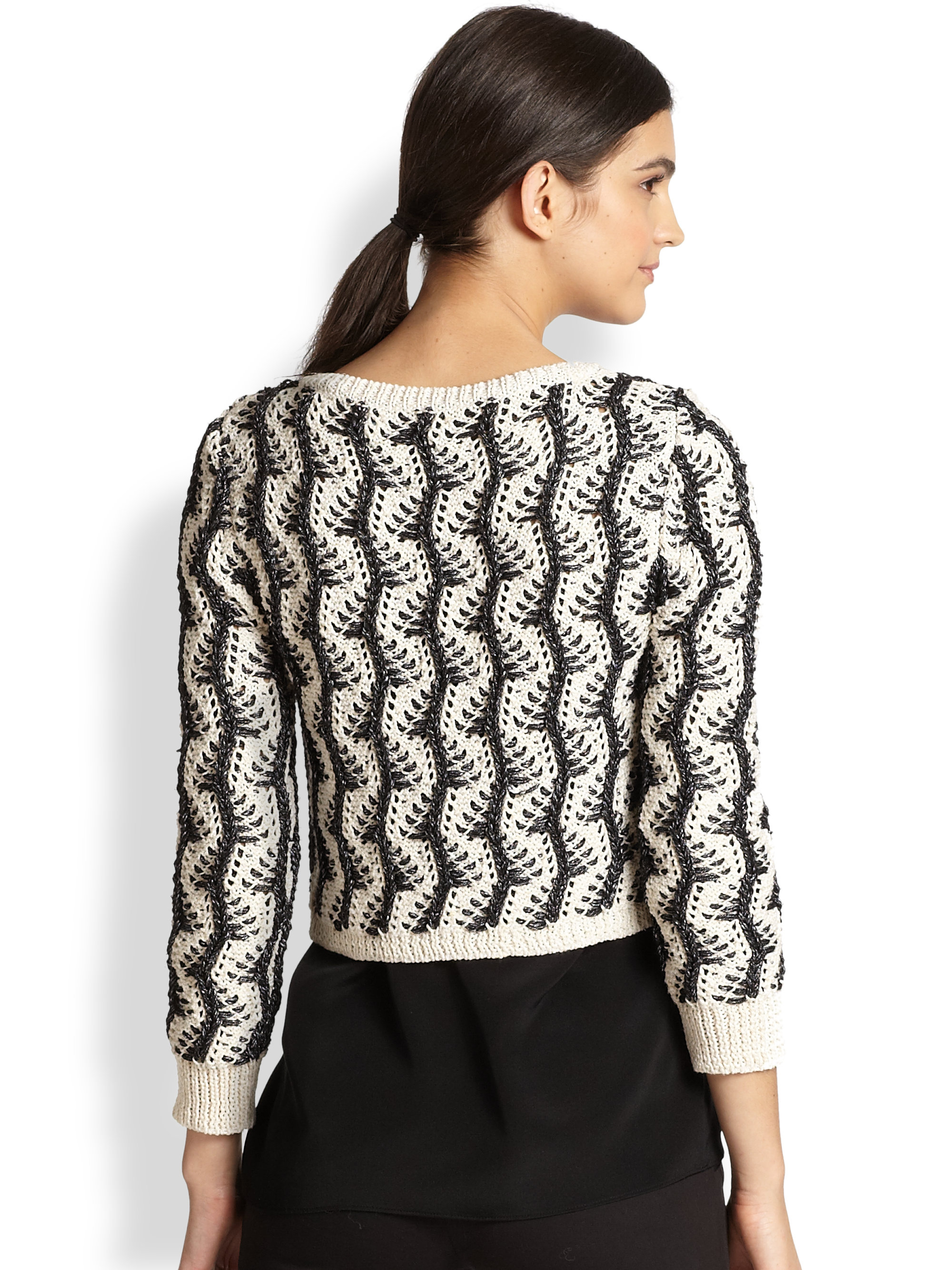 Alice   olivia Georgia Vine Knit Cropped Cardigan Sweater in Black ...