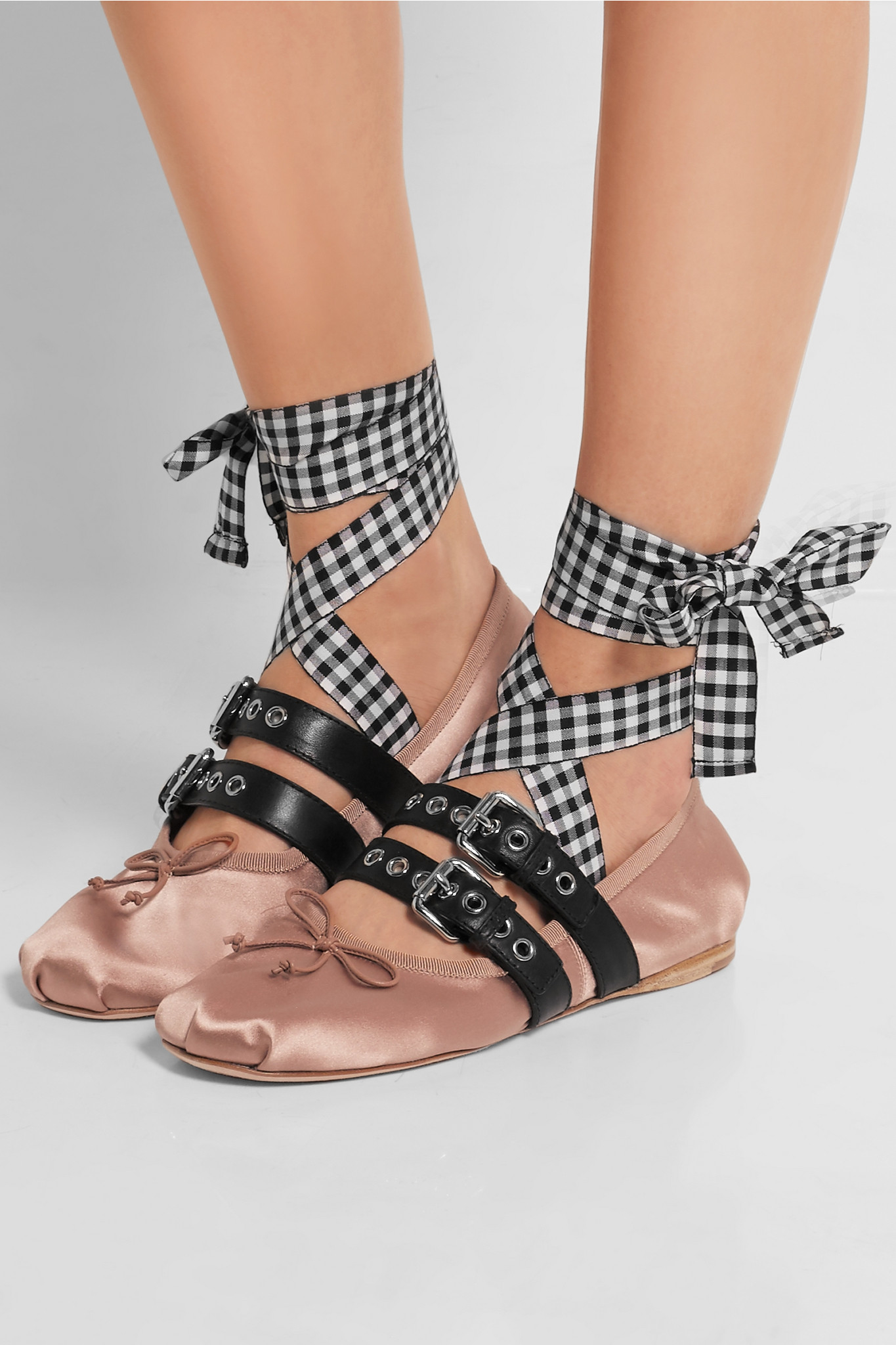 5c09a356a76b7 Miu Miu Buckled Leather And Satin Ballet Flats in Pink - Lyst