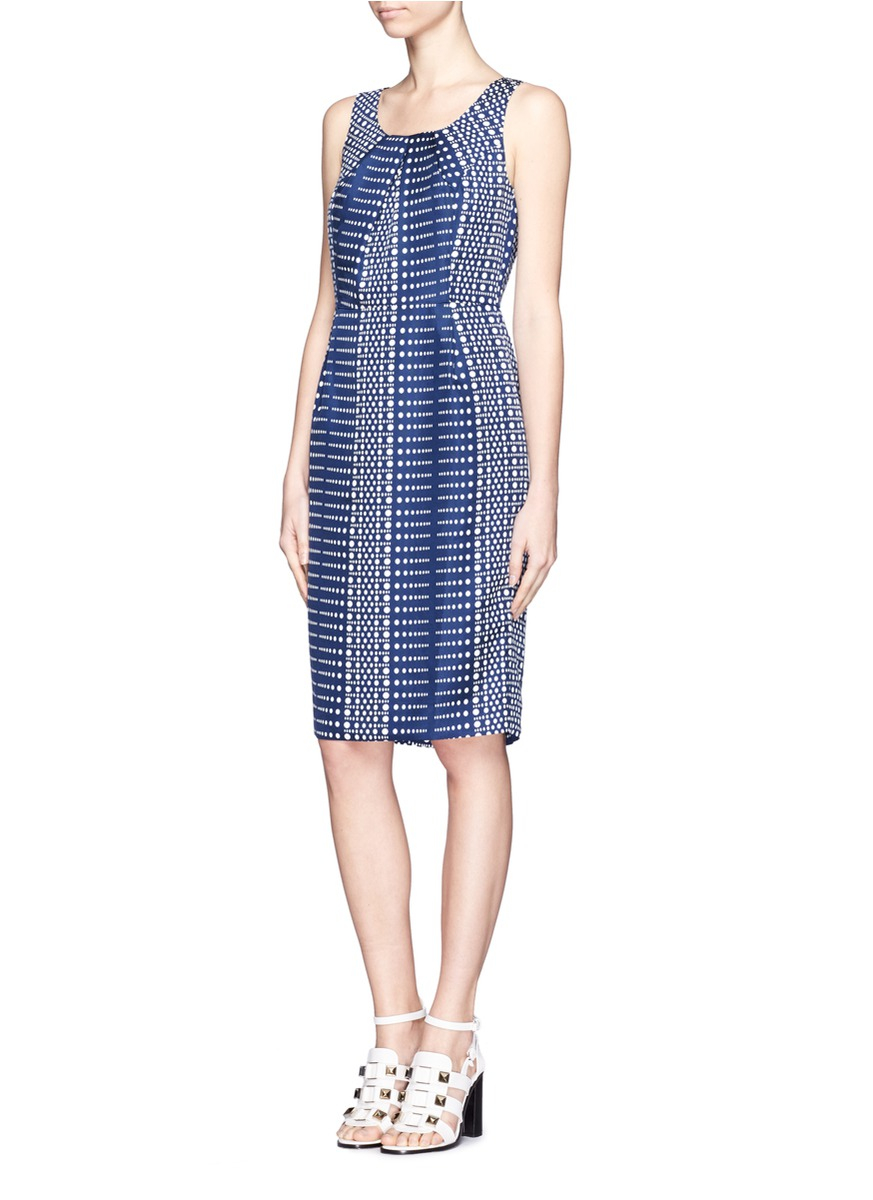 St John's Designer Clothing Outlet st john blue dot print pleated