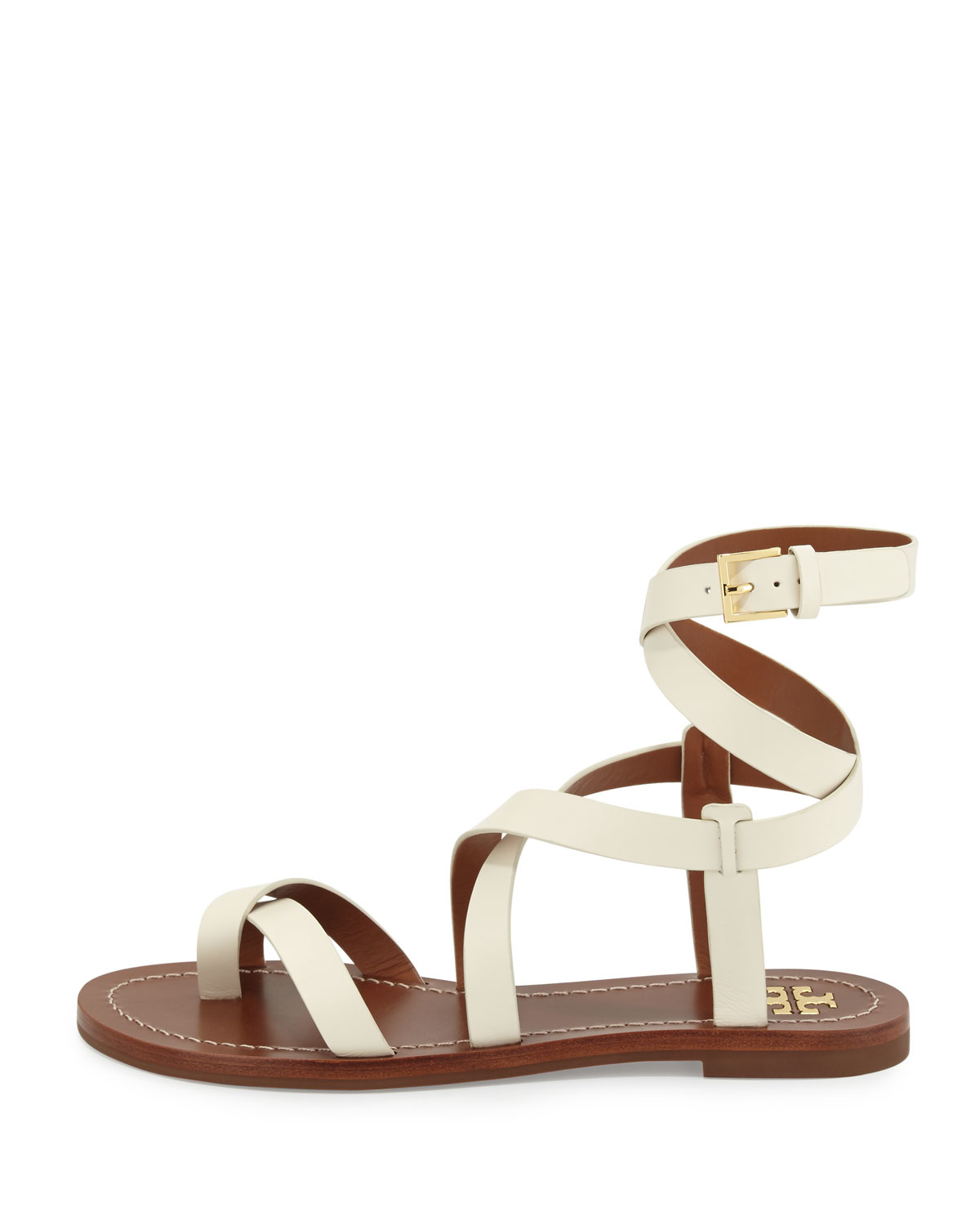 c4f47bde8977 Lyst - Tory Burch Patos Crisscross Leather Sandal in White