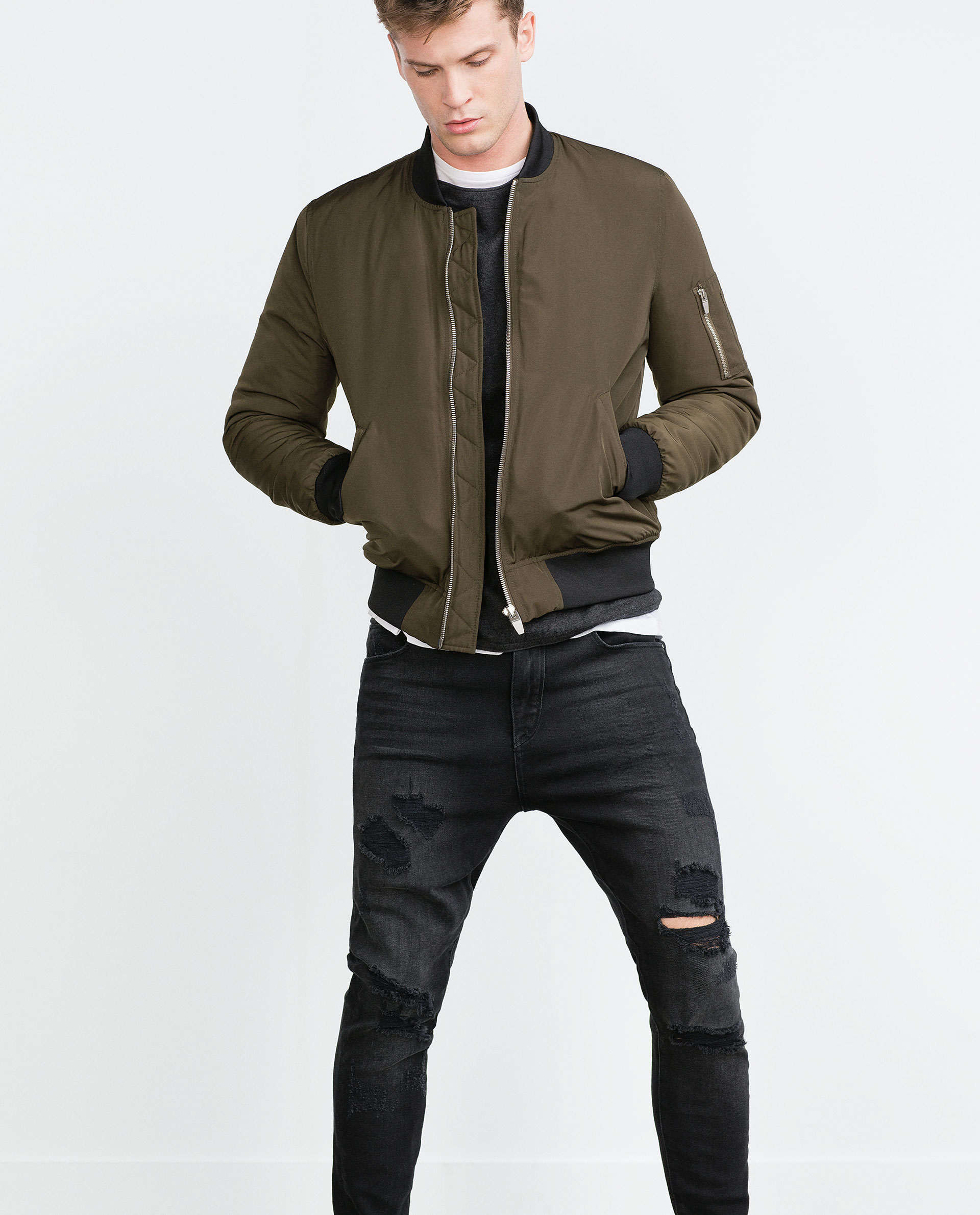 zara quilted bomber jacket in green for men lyst. Black Bedroom Furniture Sets. Home Design Ideas