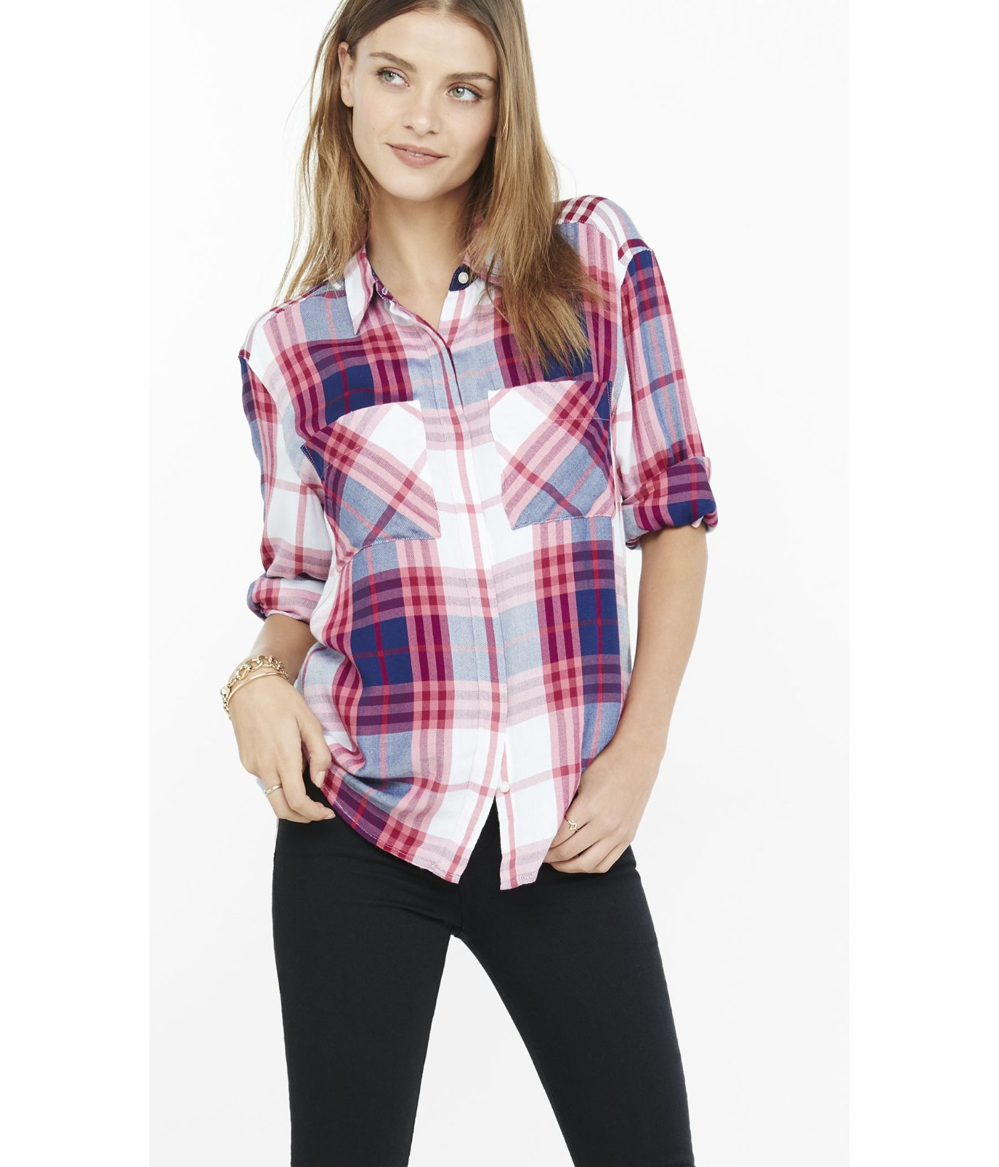 Express Blue And Pink Oversized Plaid Shirt In Red Lyst