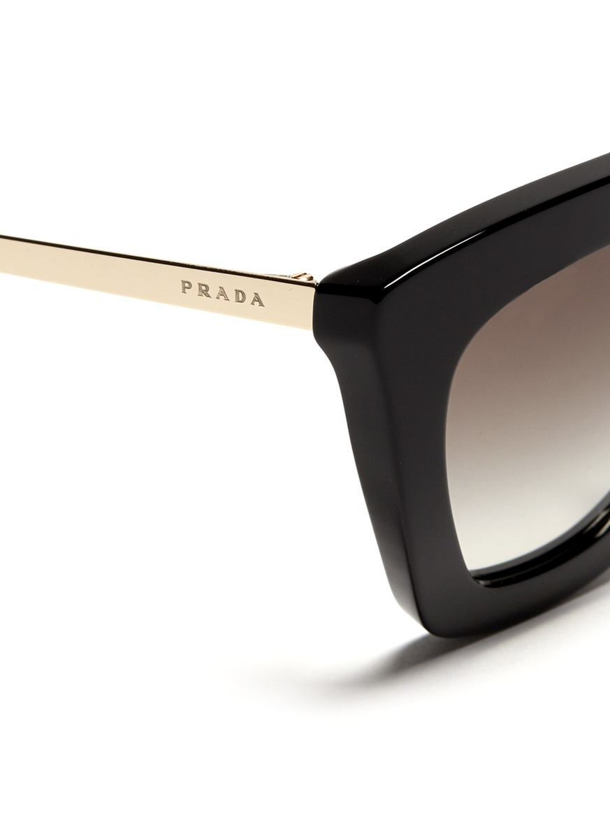 9bff8417f702 low cost lyst prada ornate saffiano leather sunglasses 53mm in black 777eb  f803a  discount lyst prada cateye angular sunglasses in black 61fd6 6caec