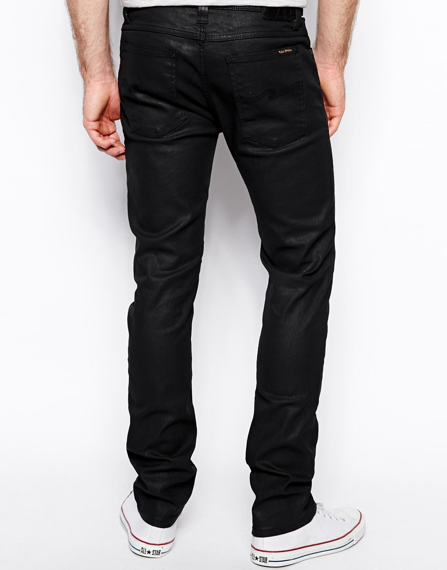 6ba1f89d8e829 Lyst - Nudie Jeans Tube Tom Skinny Fit Back In Black Coated in Black ...