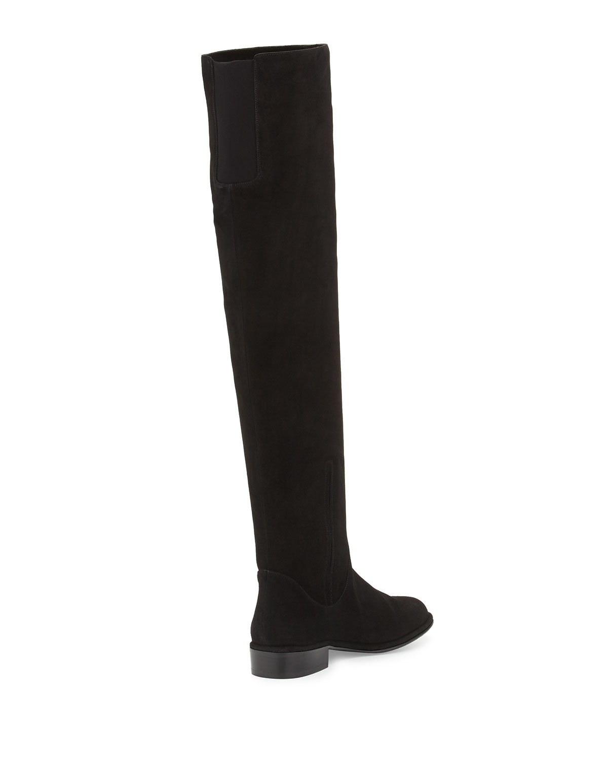 stuart weitzman rockerchic flat suede boot in black lyst