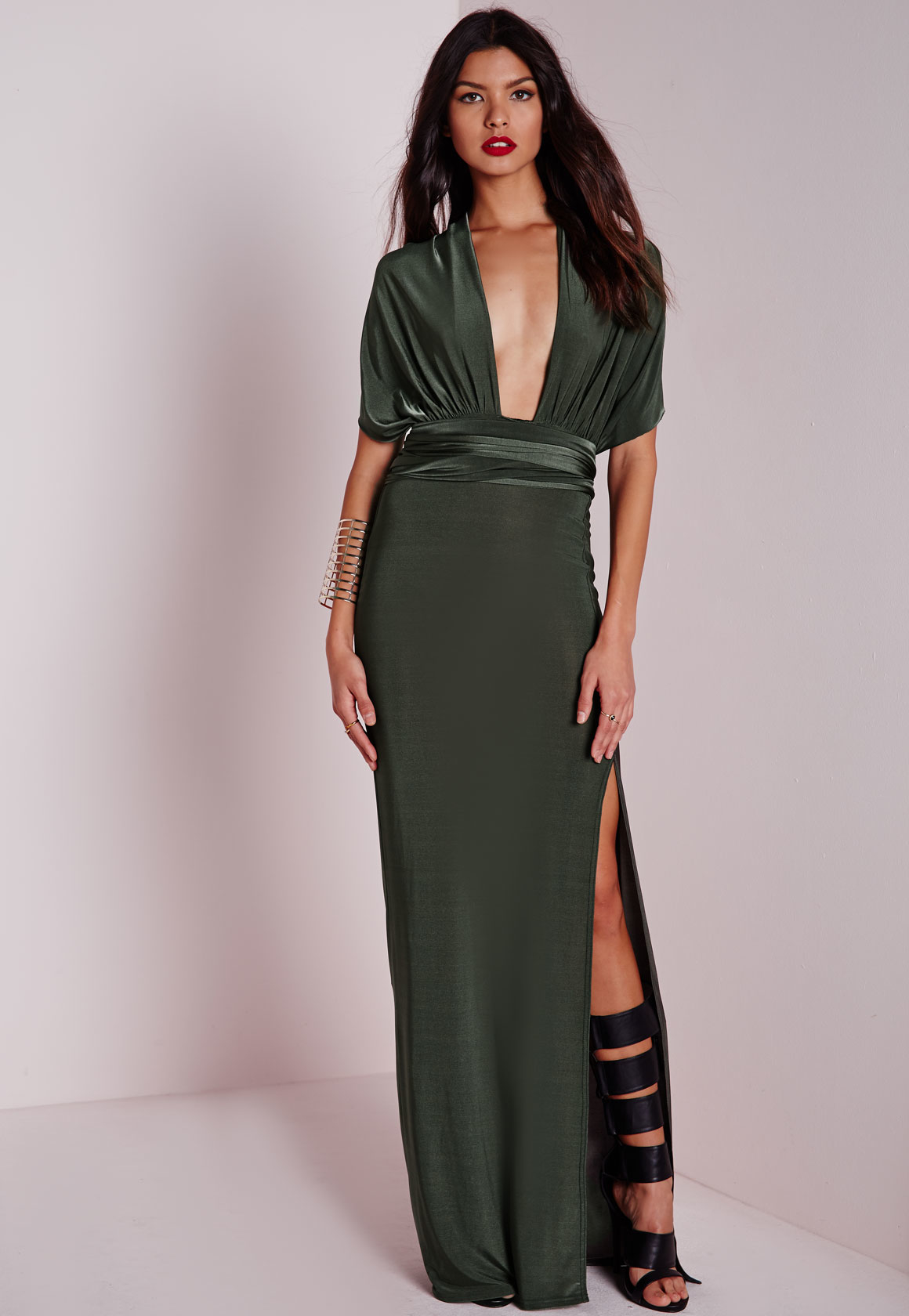 4d3b0ed4618 Missguided Do It Any Way Multiway Slinky Maxi Dress Khaki in Natural ...