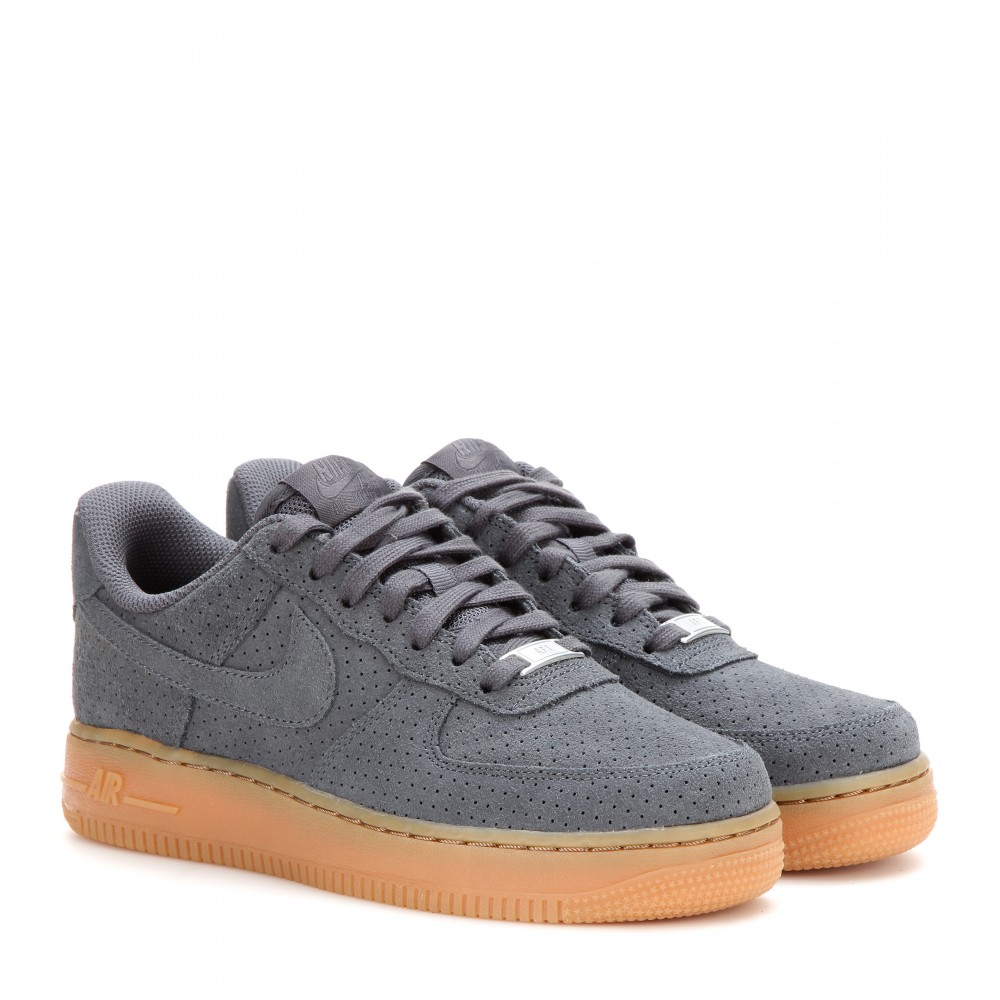 lyst nike air force 1 suede sneakers in gray