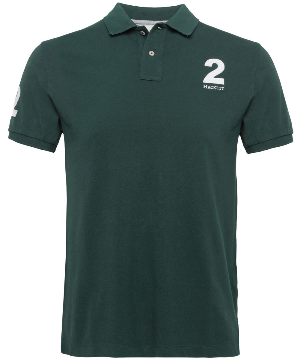 Hackett Tailored Fit Number Polo Shirt In Green For Men