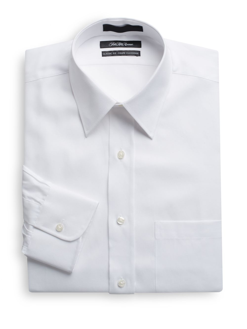 Saks Fifth Avenue Classic Fit Cotton Dress Shirt In White