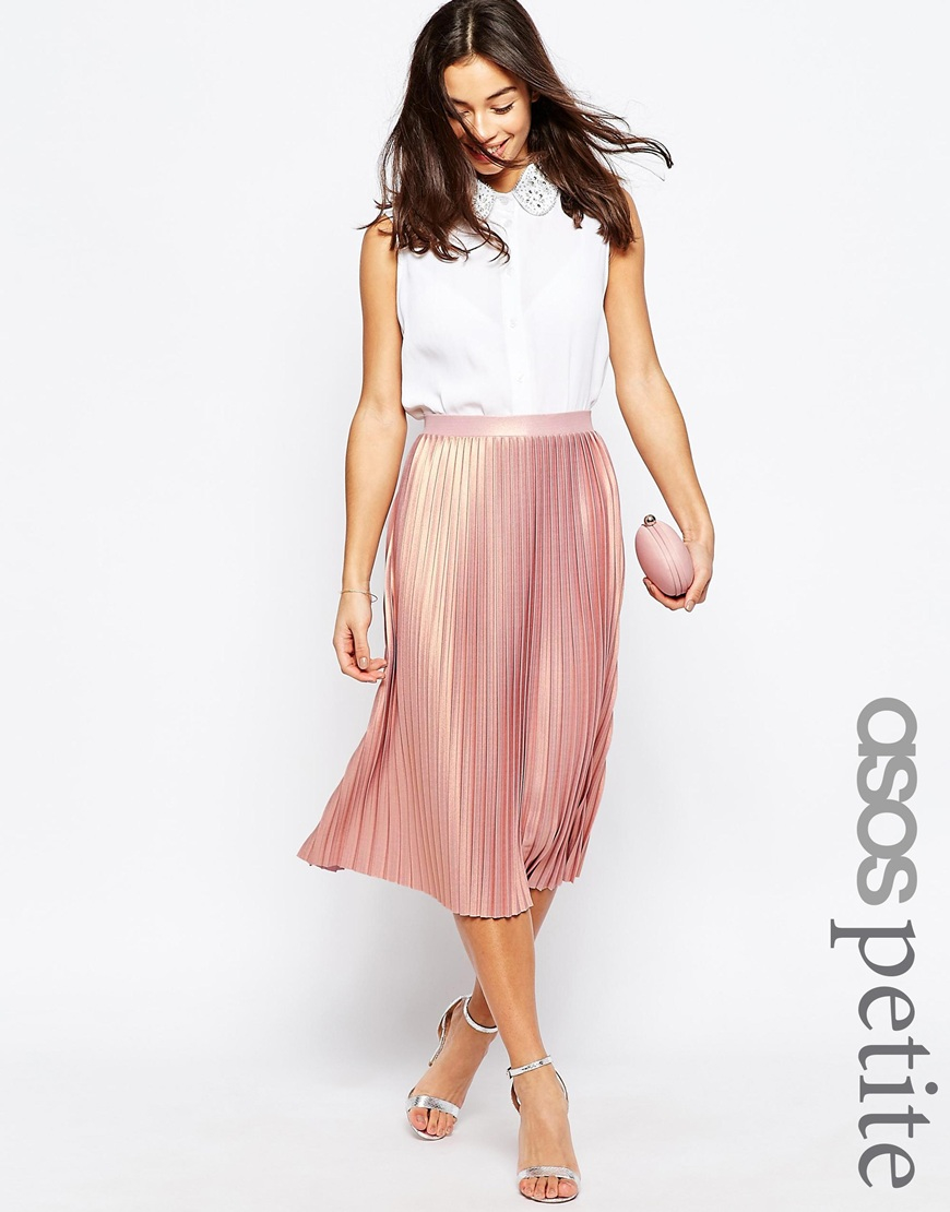Asos Pleated Midi Skirt With Metallic Foil in Pink | Lyst
