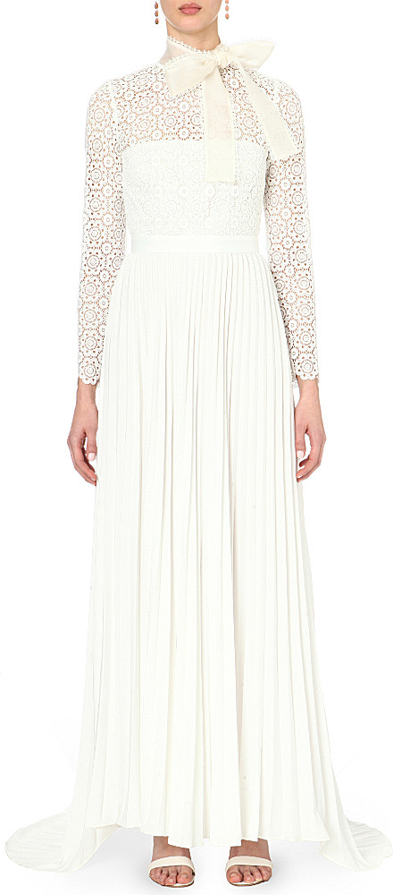 Self portrait long sleeve pleated lace trim gown in white for Self portrait wedding dress