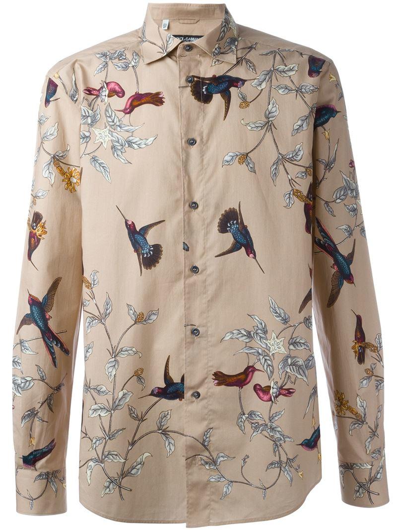 874a221c Dolce & Gabbana Bird Print Shirt in Brown for Men - Lyst