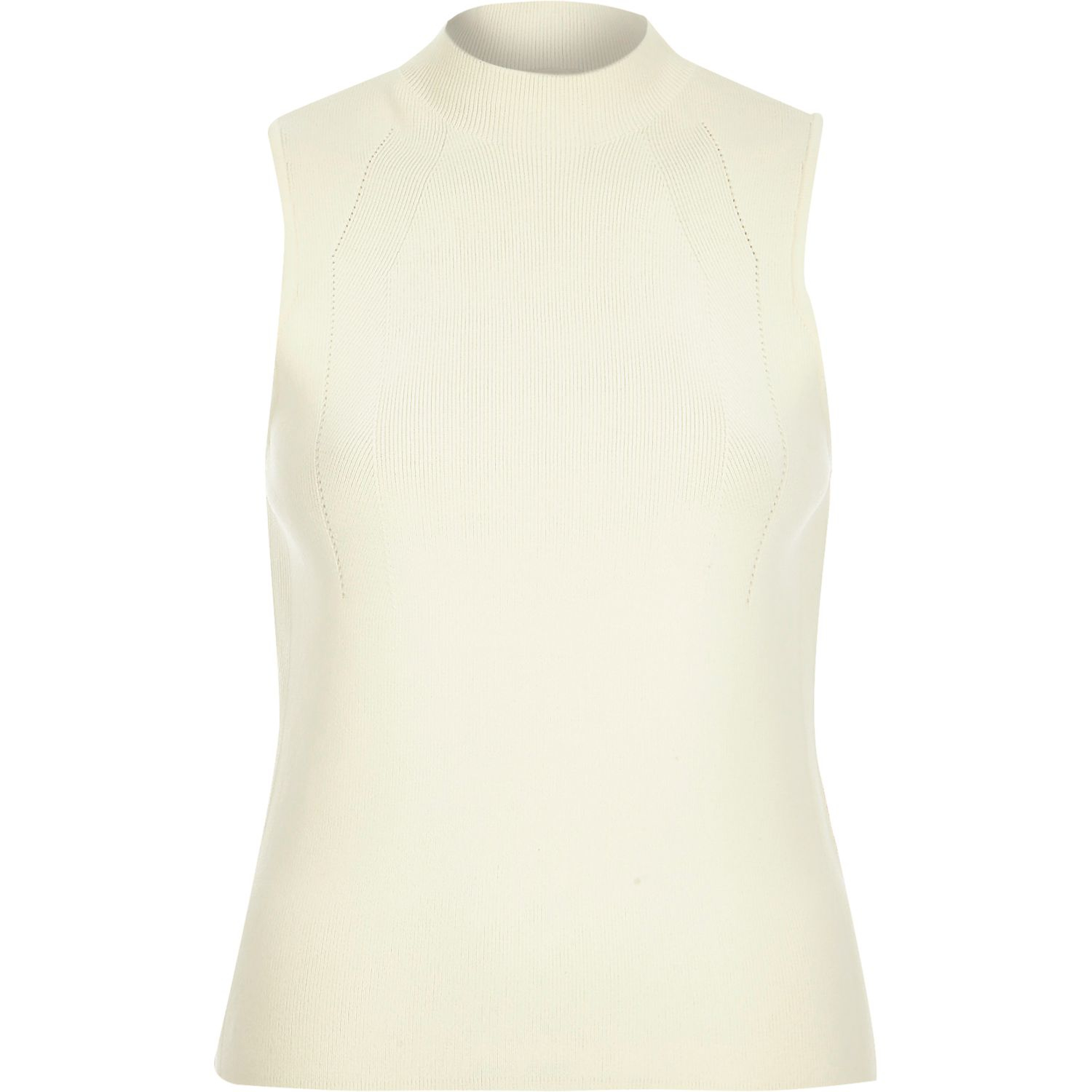 2a0acfdf4d1139 River Island Cream Knitted High Neck Sleeveless Top in Natural - Lyst