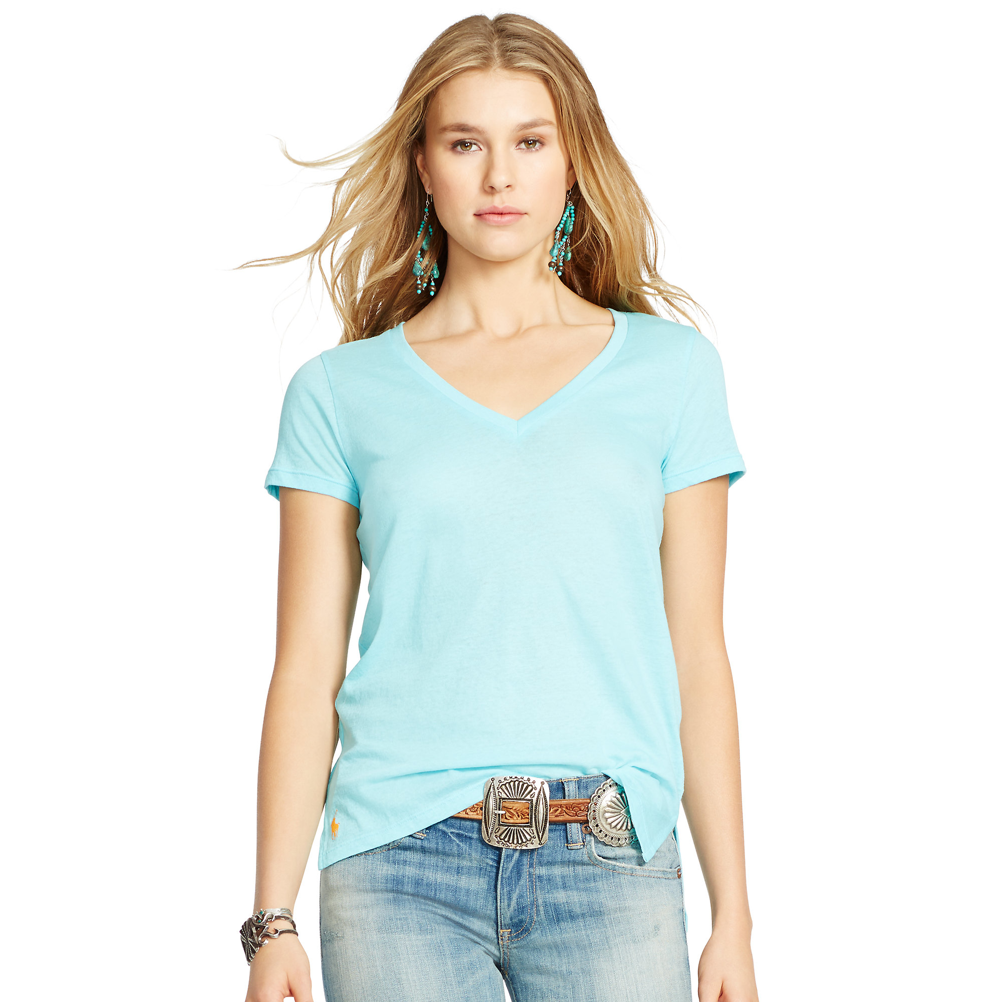 04bd02482 ... official lyst polo ralph lauren cotton jersey v neck tee in blue 65e8f  62c7d