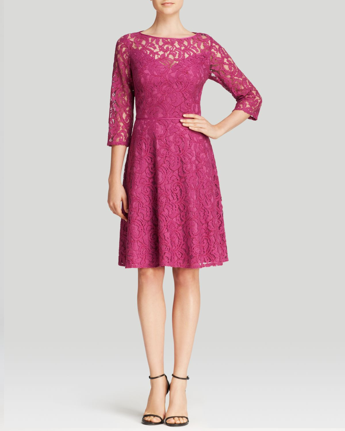 Adrianna Papell Dress Three Quarter Sleeve Lace Fit And