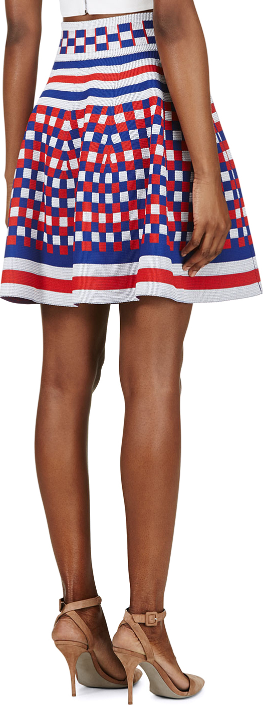 64beb5422024 Lyst - Alexander McQueen Blue And Red Knit Check Circle Skirt in Blue
