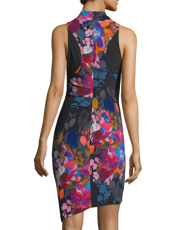 Lyst Nicole Miller Artelier Floral Print Stretch Silk Dress