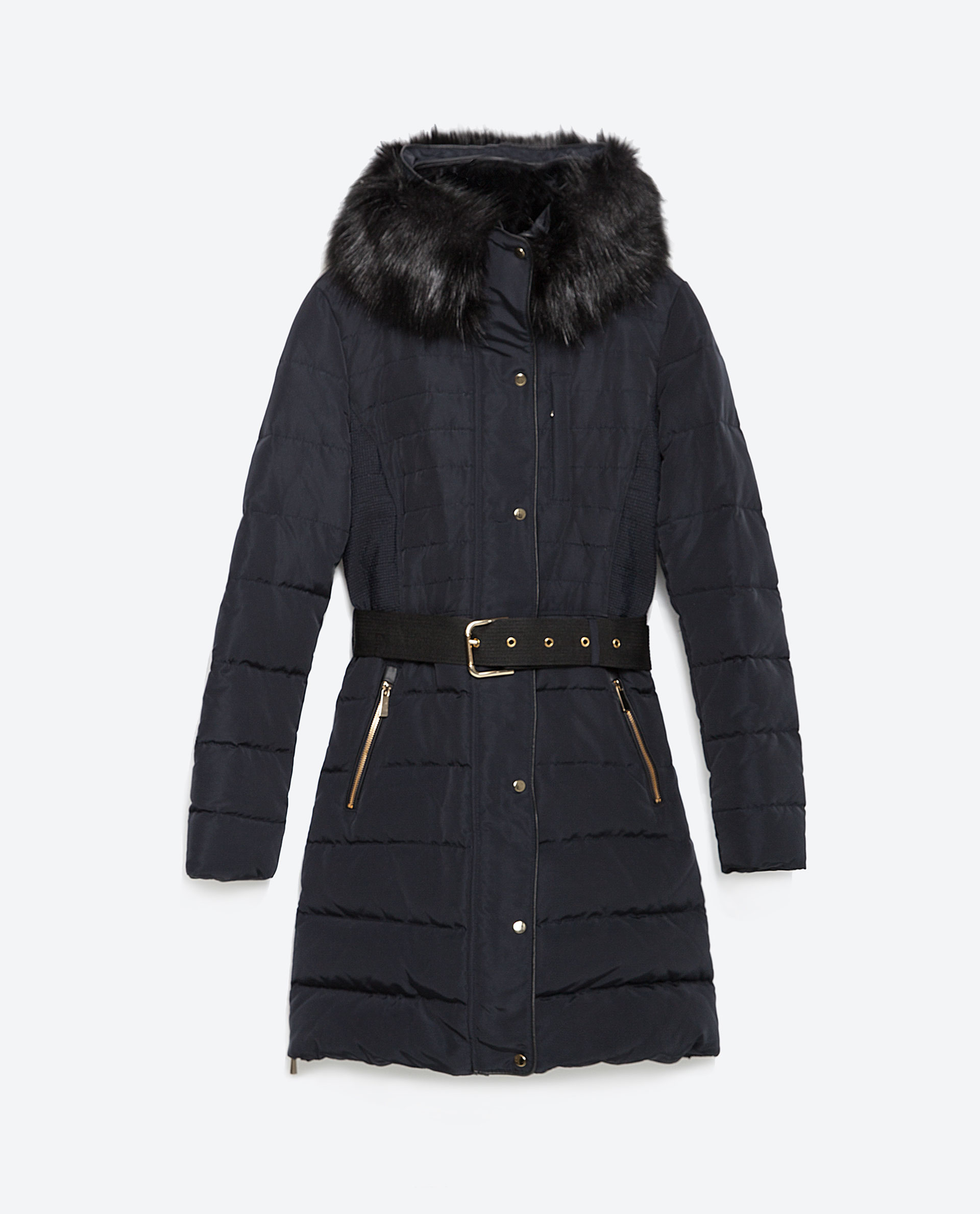 Zara Quilted Feather Coat In Blue Navy Blue Lyst