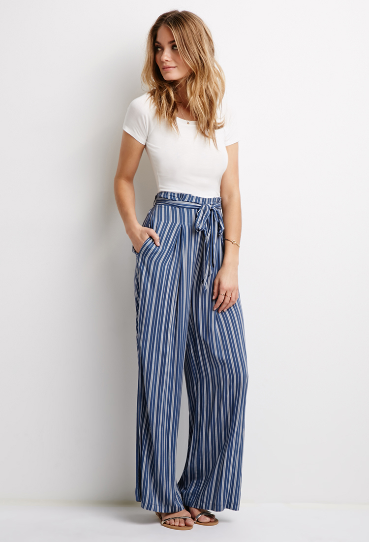 caee6a1ffb77b0 Forever 21 Contemporary Striped Self-tie Waist Pants in Blue - Lyst