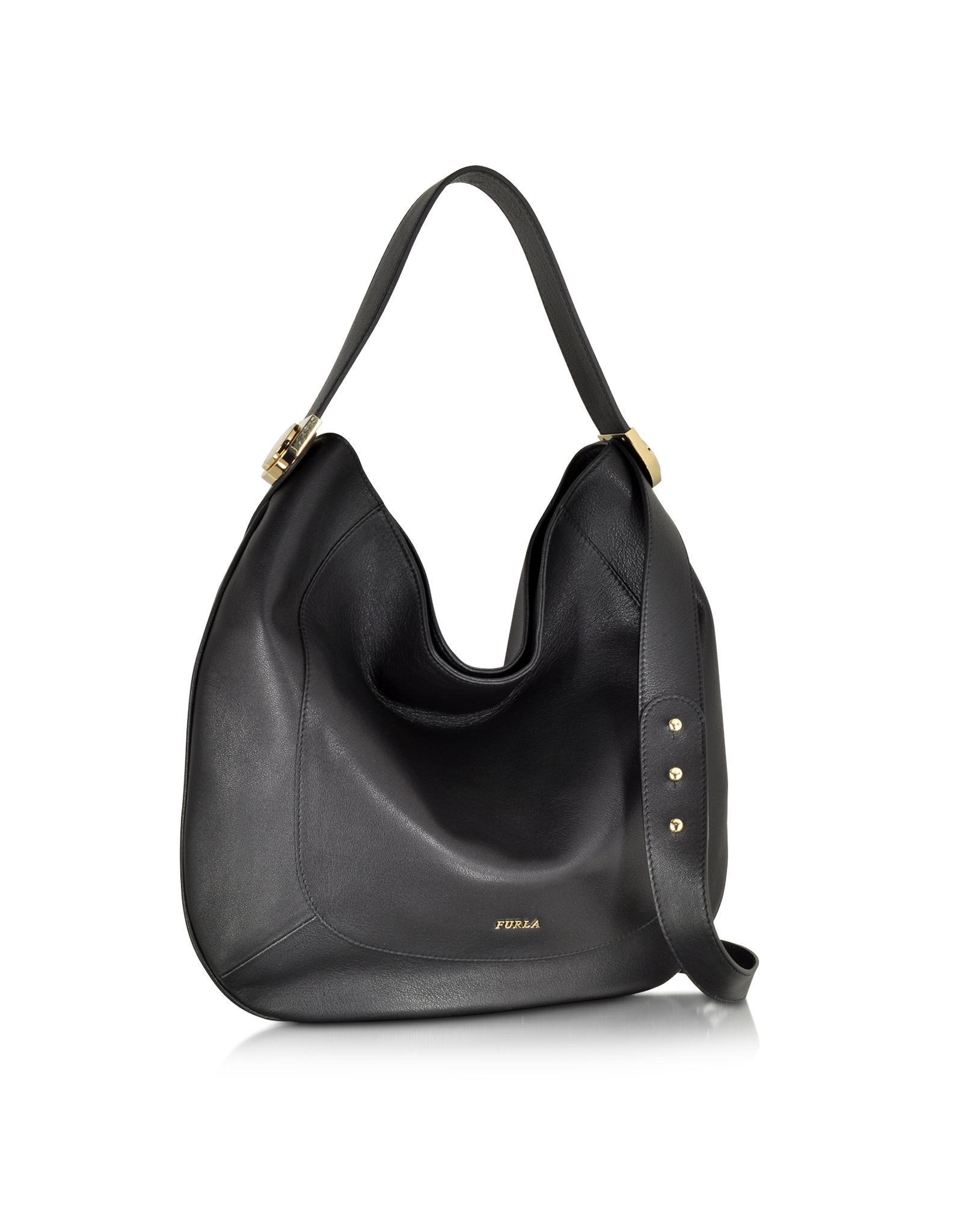 c99f269ac Furla Large Luna Onyx Leather Hobo Bag in Black - Lyst