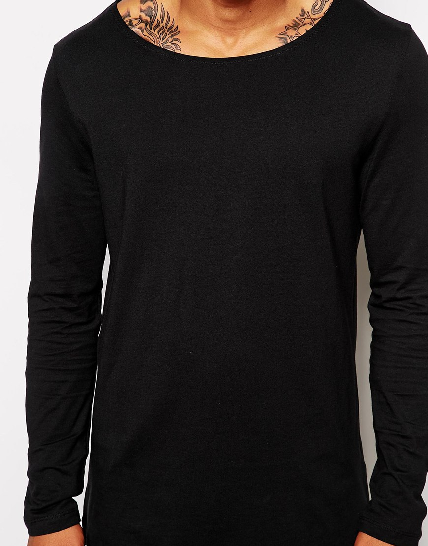 Asos Long Sleeve T-Shirt With Boat Neck In Longline in Black for ...