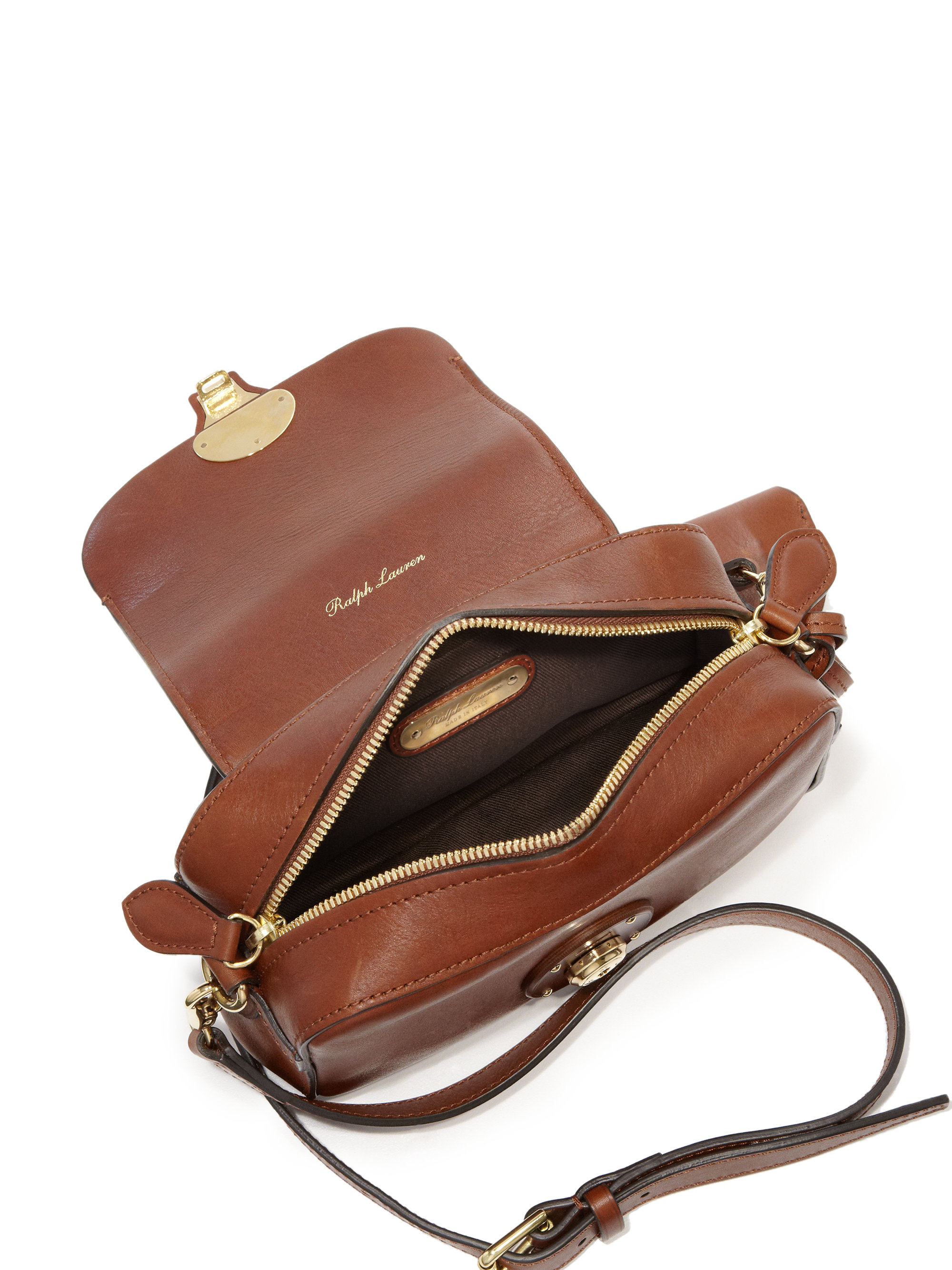 68474436f5 Lyst - Ralph Lauren Ricky Small Leather Zip Crossbody Bag in Brown