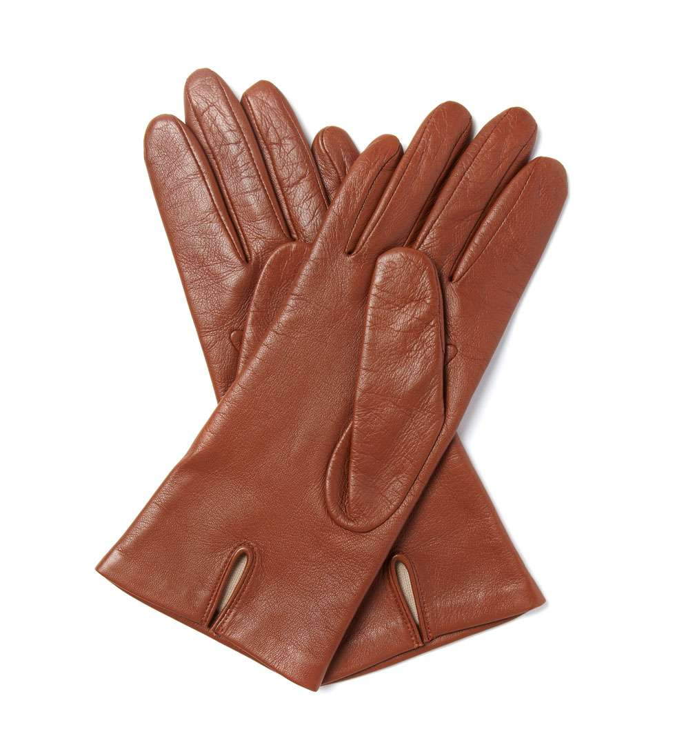 hobbs short leather gloves in brown lyst