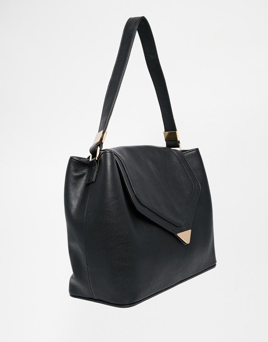Asos Sleek Flap Over Shoulder Bag in Black | Lyst