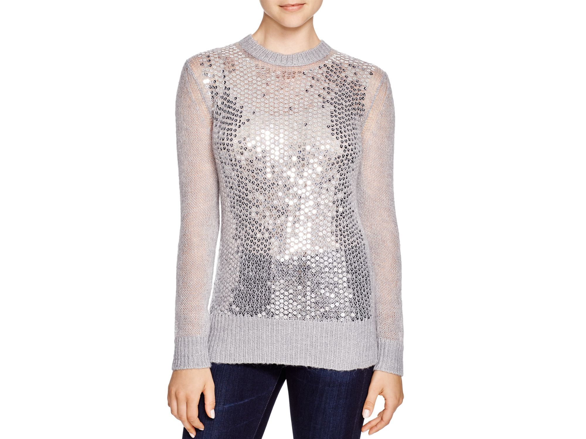 Michael michael kors Sequined Open Knit Sweater in Gray | Lyst