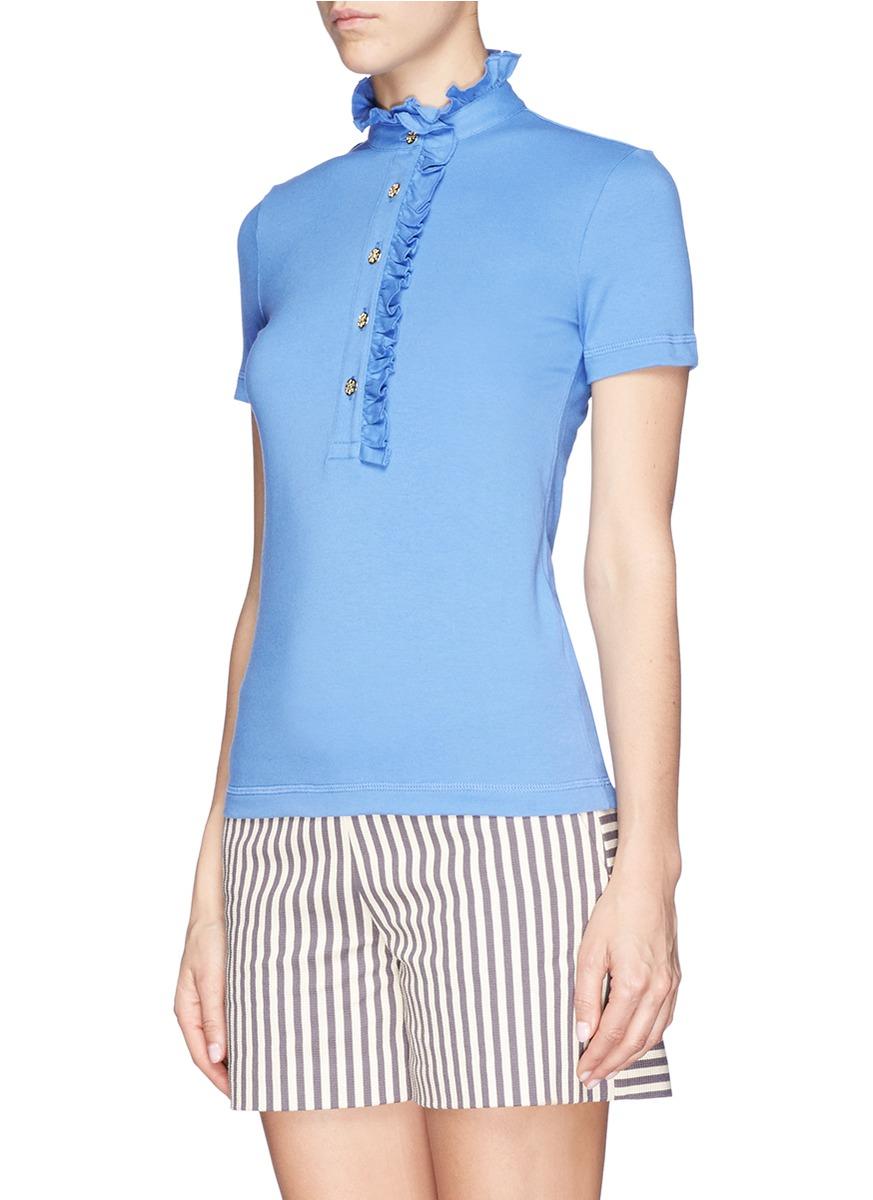 Lyst Tory Burch 39 Lidia 39 Ruffle Polo Shirt In Blue