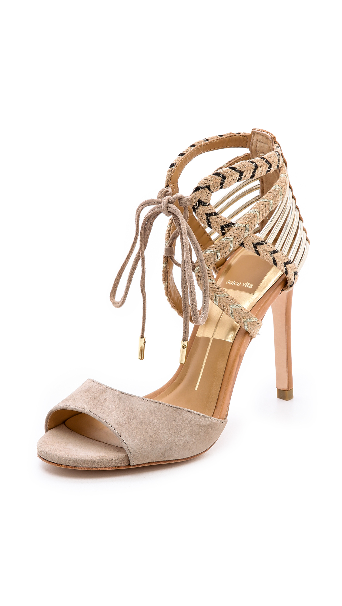 Dolce Vita Hexen Lace Up Sandals In Beige Nude Lyst