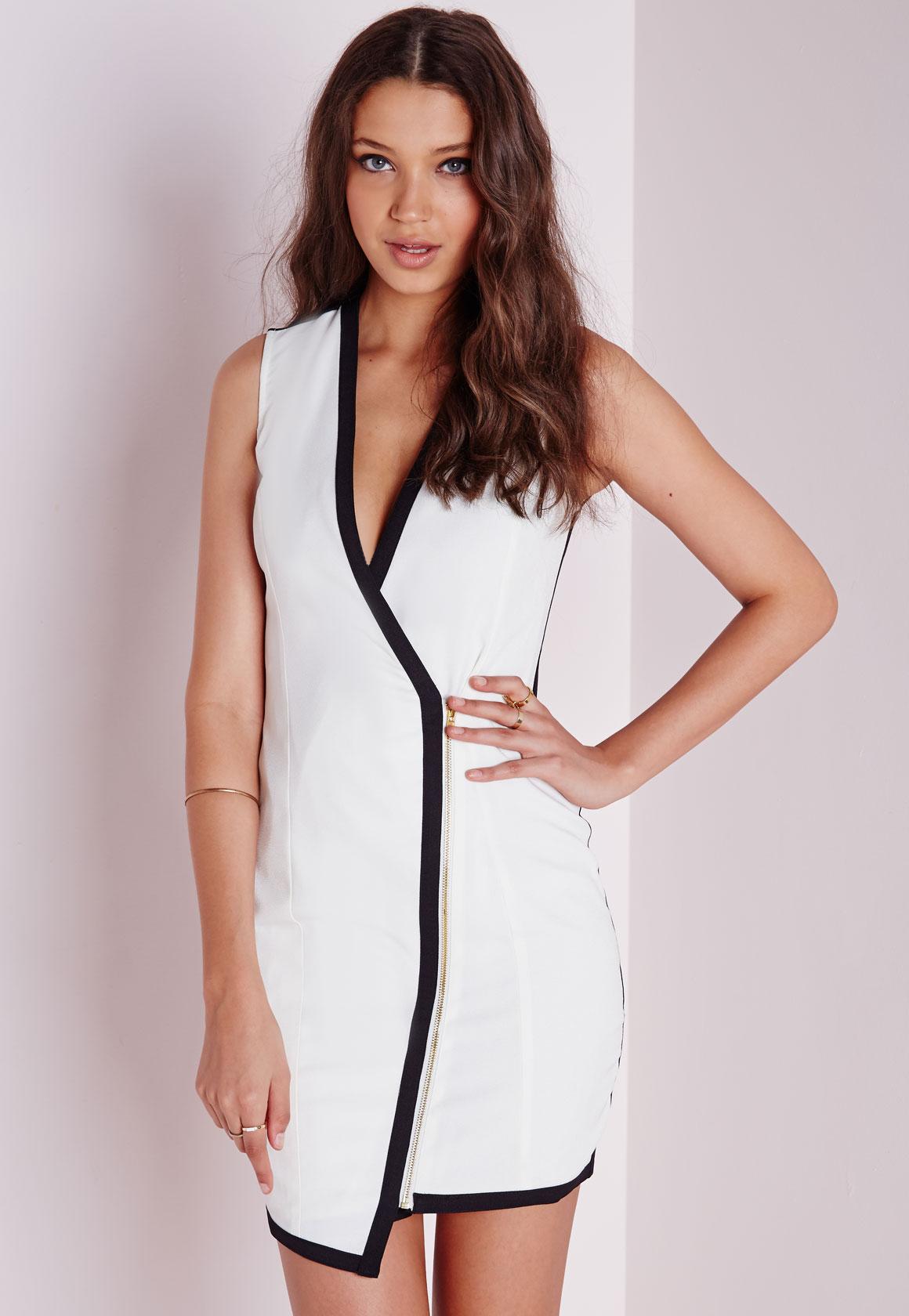 77b55605008c58 Missguided Crepe Sleeveless Contrast Wrap Blazer Dress White in ...